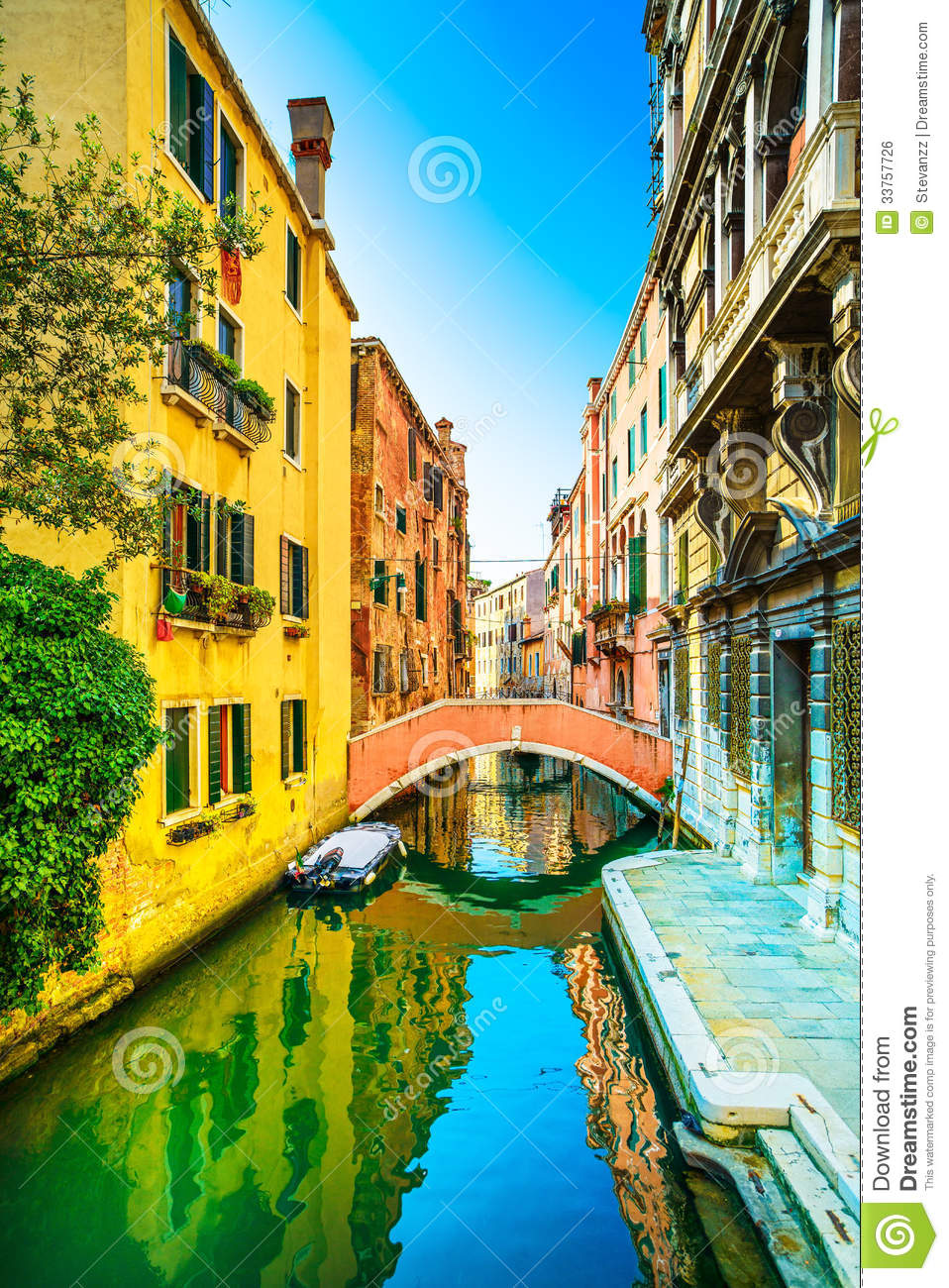 Venice Cityscape, Sunset In Water Canal And Bridge. Italy ...
