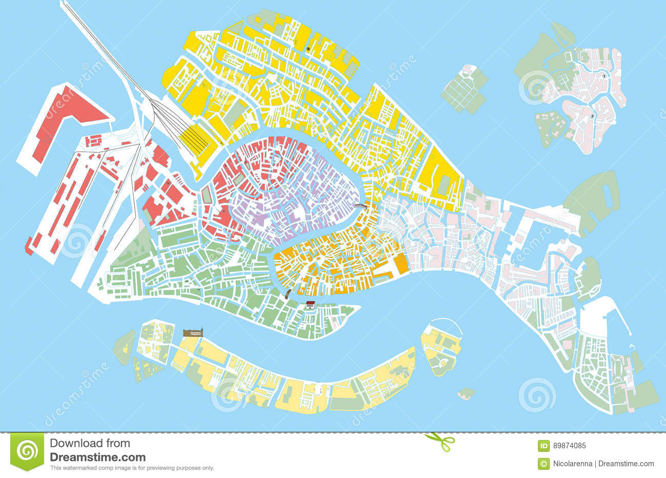 picture about Printable Map of Venice identified as Venice shade vector map inventory vector. Example of