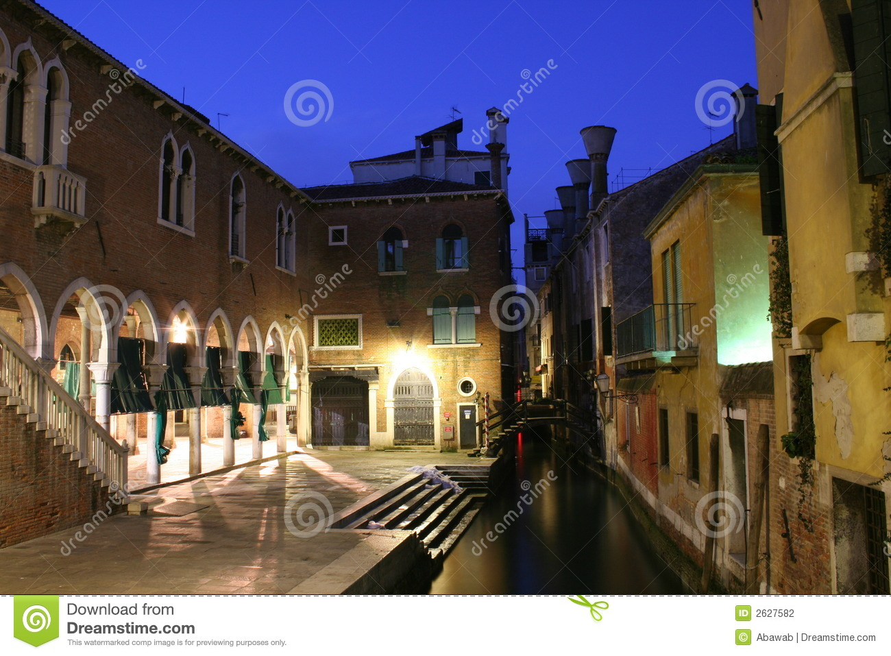 A View Over The Venice Fish Market At Night