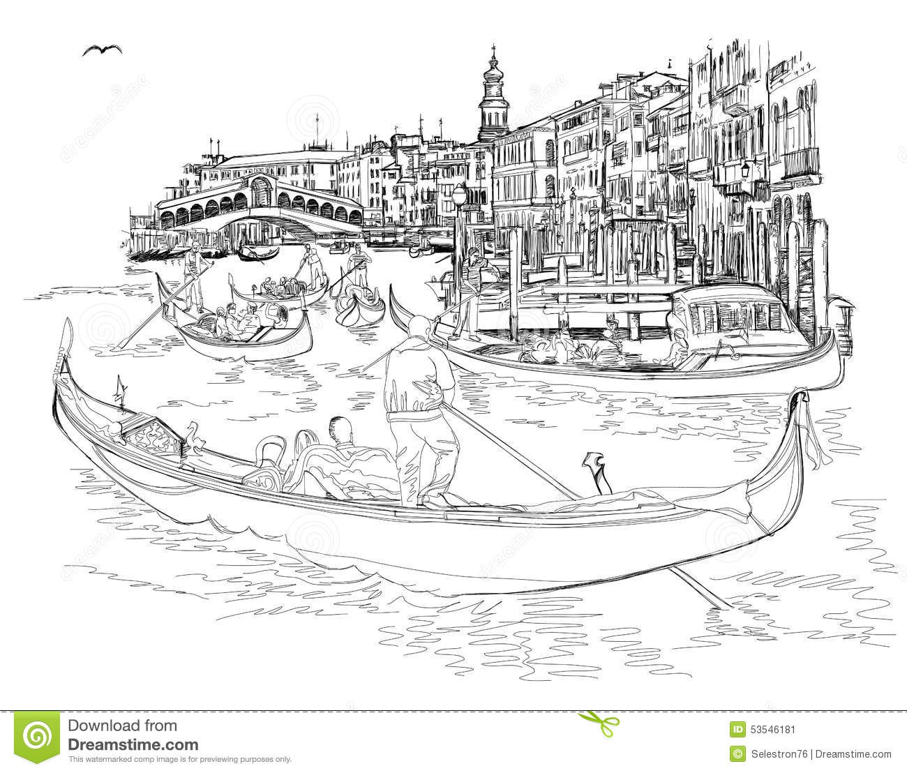 Line Drawing Venice : Venice grand canal view of the rialto bridge cartoon