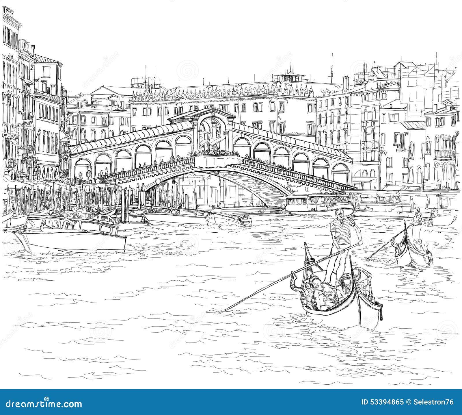 Venice - Grand Canal. View Of The Rialto Bridge Stock Vector - Image: 53394865