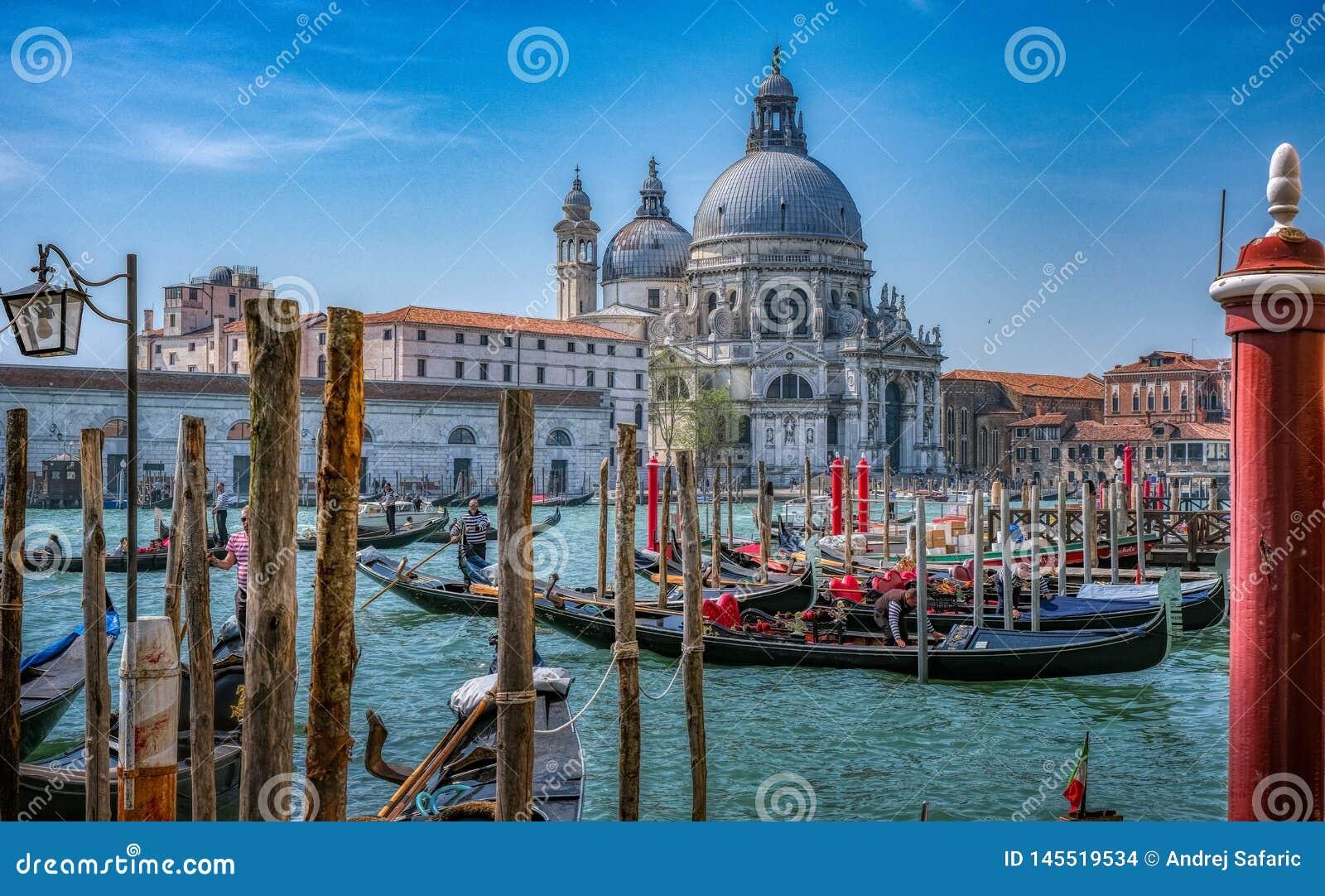 Gondolas in Venice with Basilica di Santa Maria della Salute