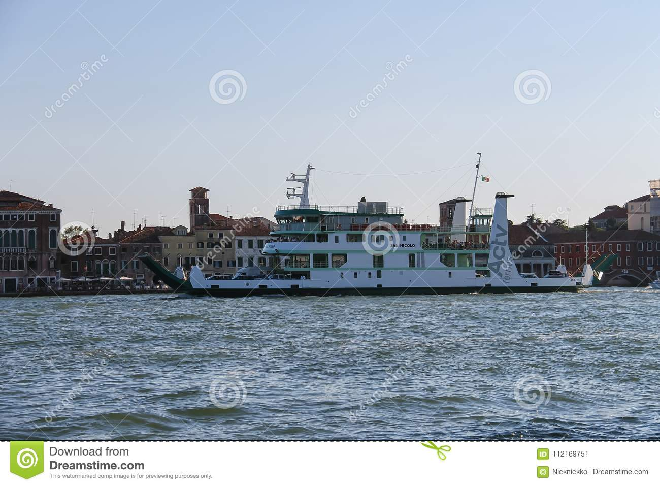 San Nicolo Sea Ferry With Passengers And Cars In Venice Lagoon ...