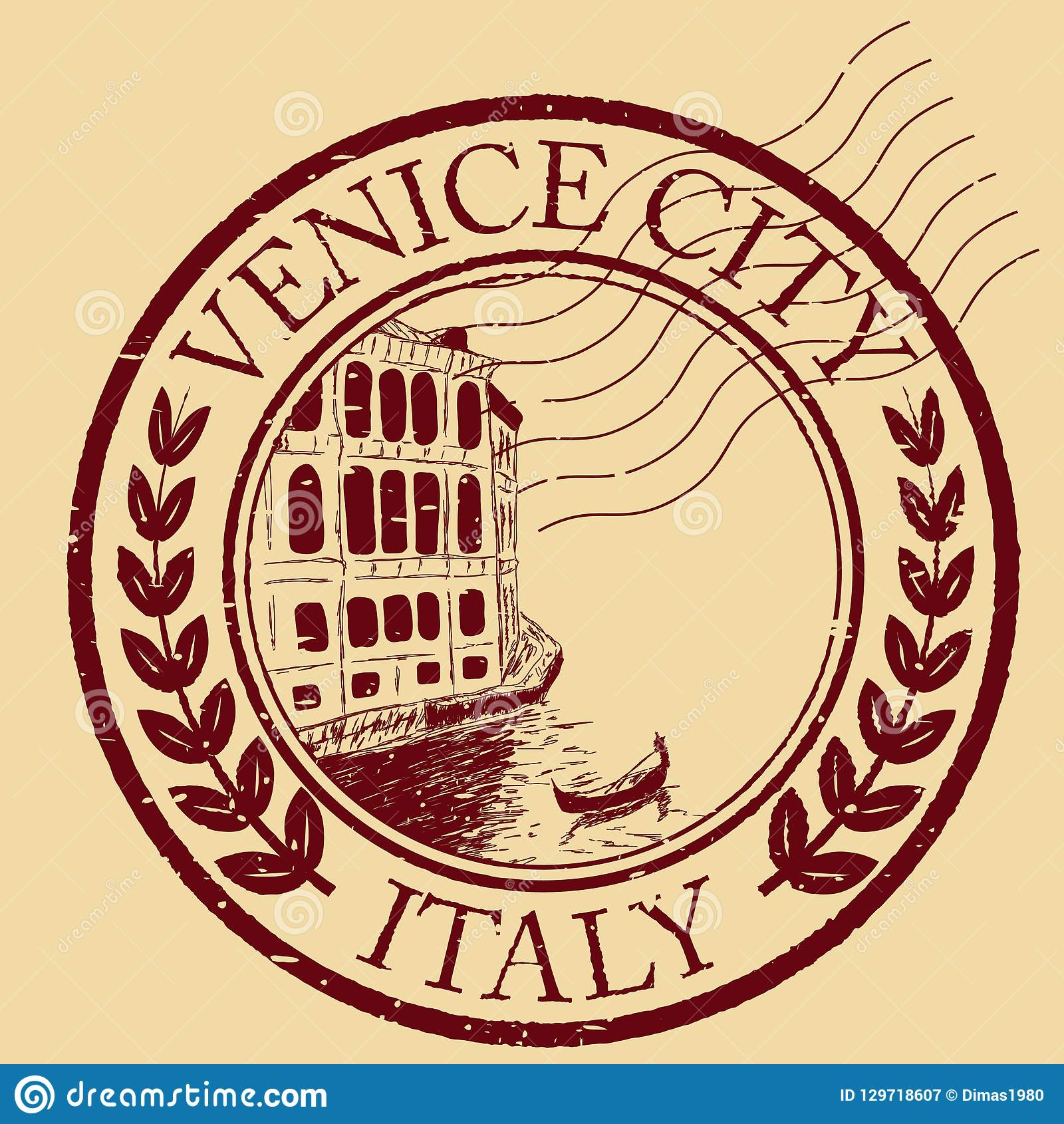 Venice, Italy isolated postage stamp