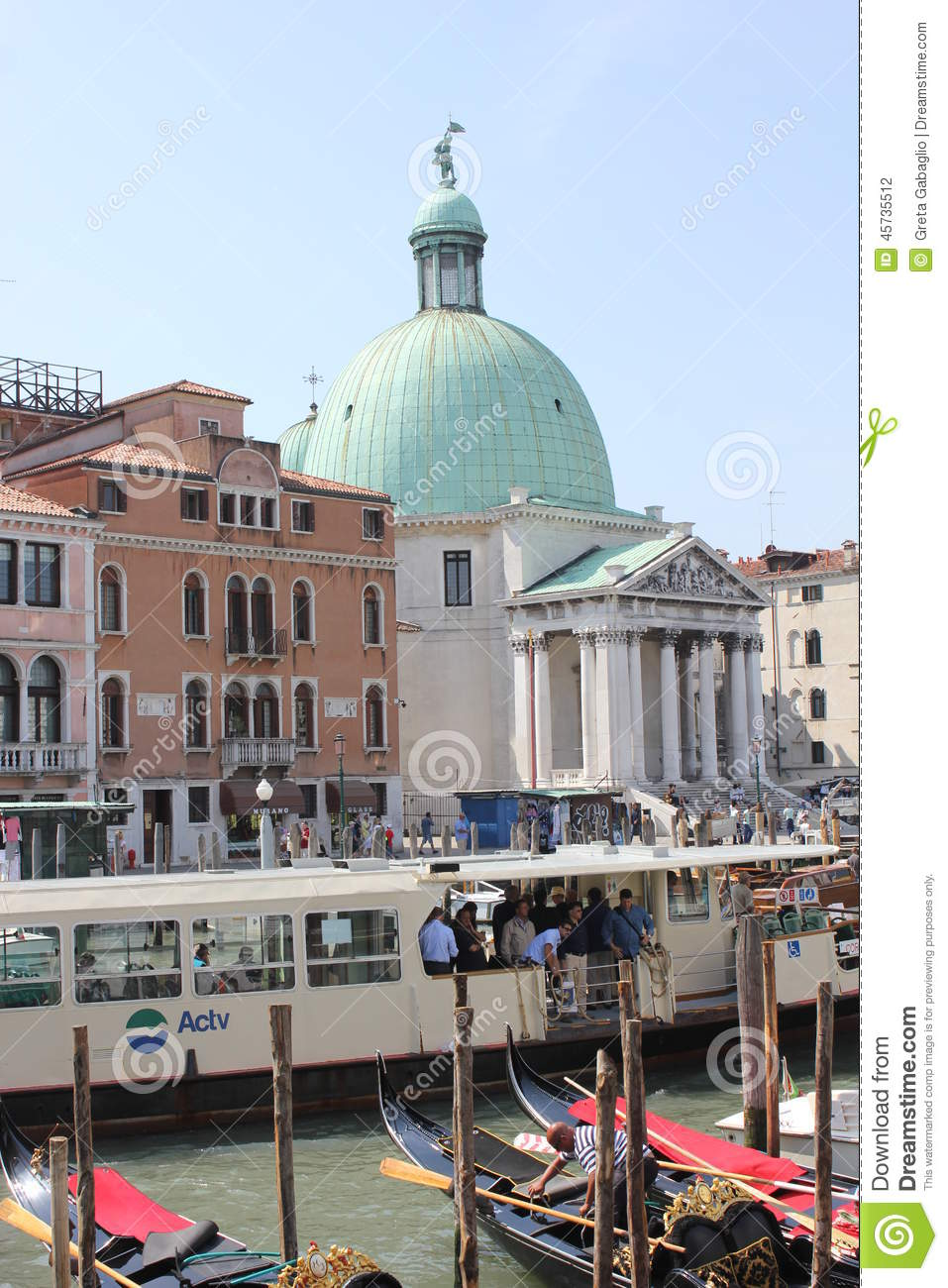 Venice Full Face Black Mirror Mask: Venice, Italy, June 4 2014: Arriving In Venice, View From