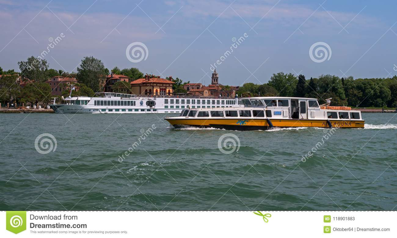 Venice, Italy - 07 May 2018: River Cruise Ship RIVER COUNTESS by Croisi Europe in Venice. The ship is moored at the pier