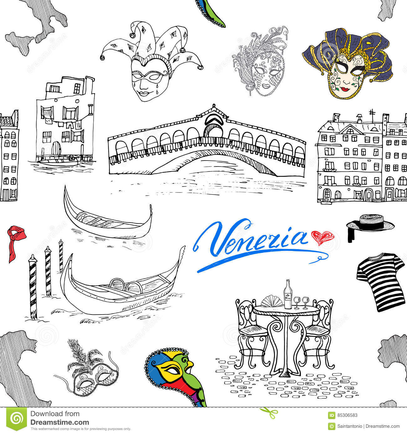 Map Of Italy Venice.Venice Italy Seamless Pattern Hand Drawn Sketch With Map Of Italy