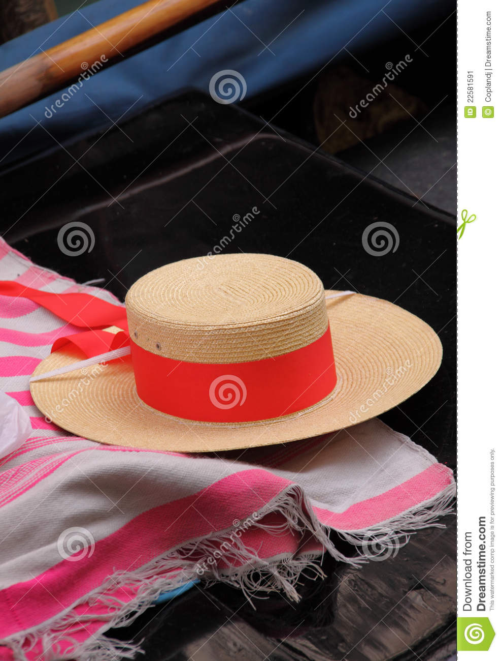Venice Italy Straw Hat In Gondola Stock Image - Image of seat ... 0ee4411d3