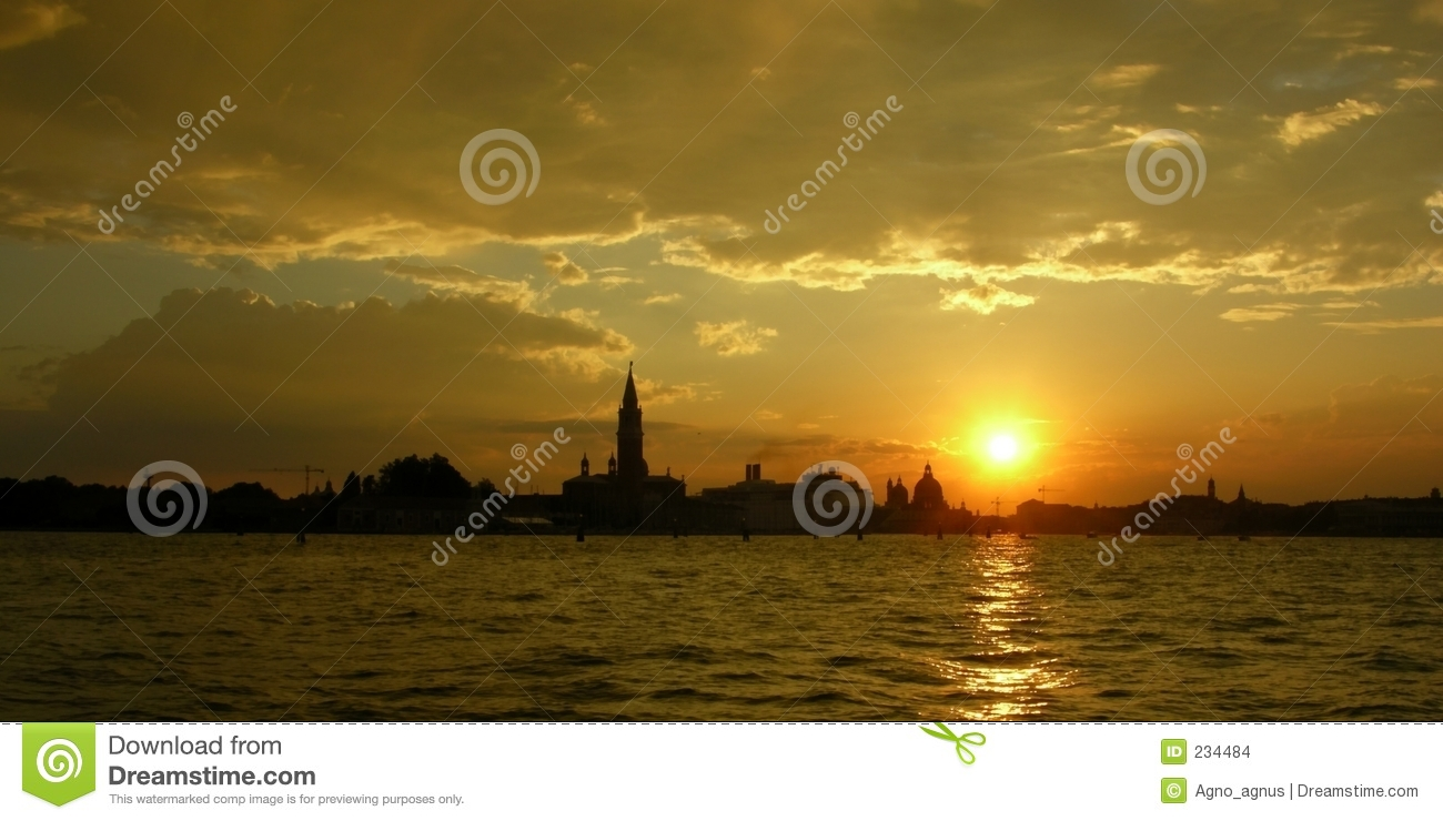 Download Venice Lagoon Sunset Landscape Panorama Stock Photo - Image of romantic, lagoon: 234484