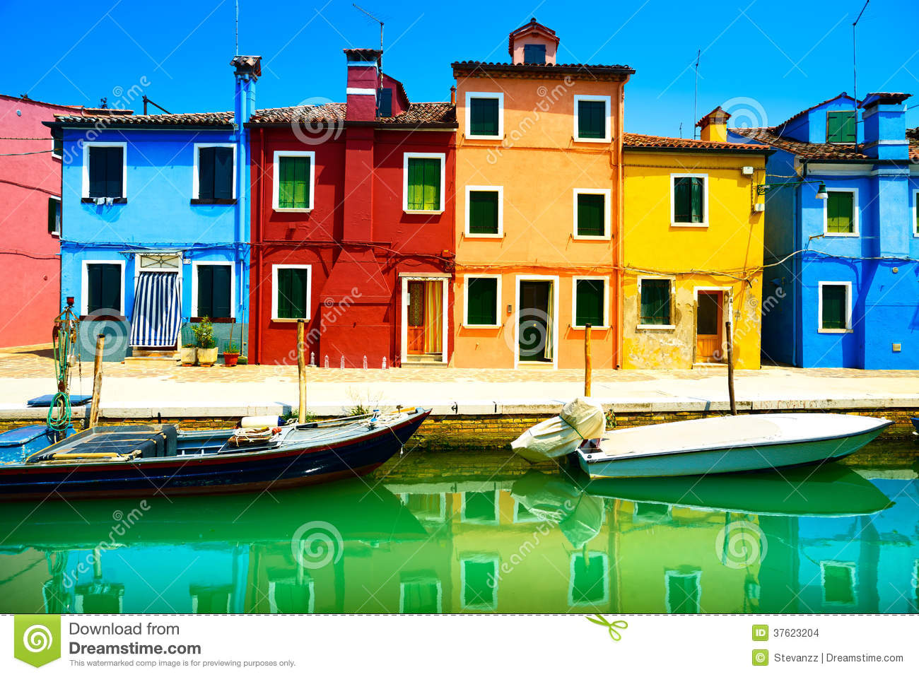 Colorful House venice landmark burano island street colorful houses italy stock