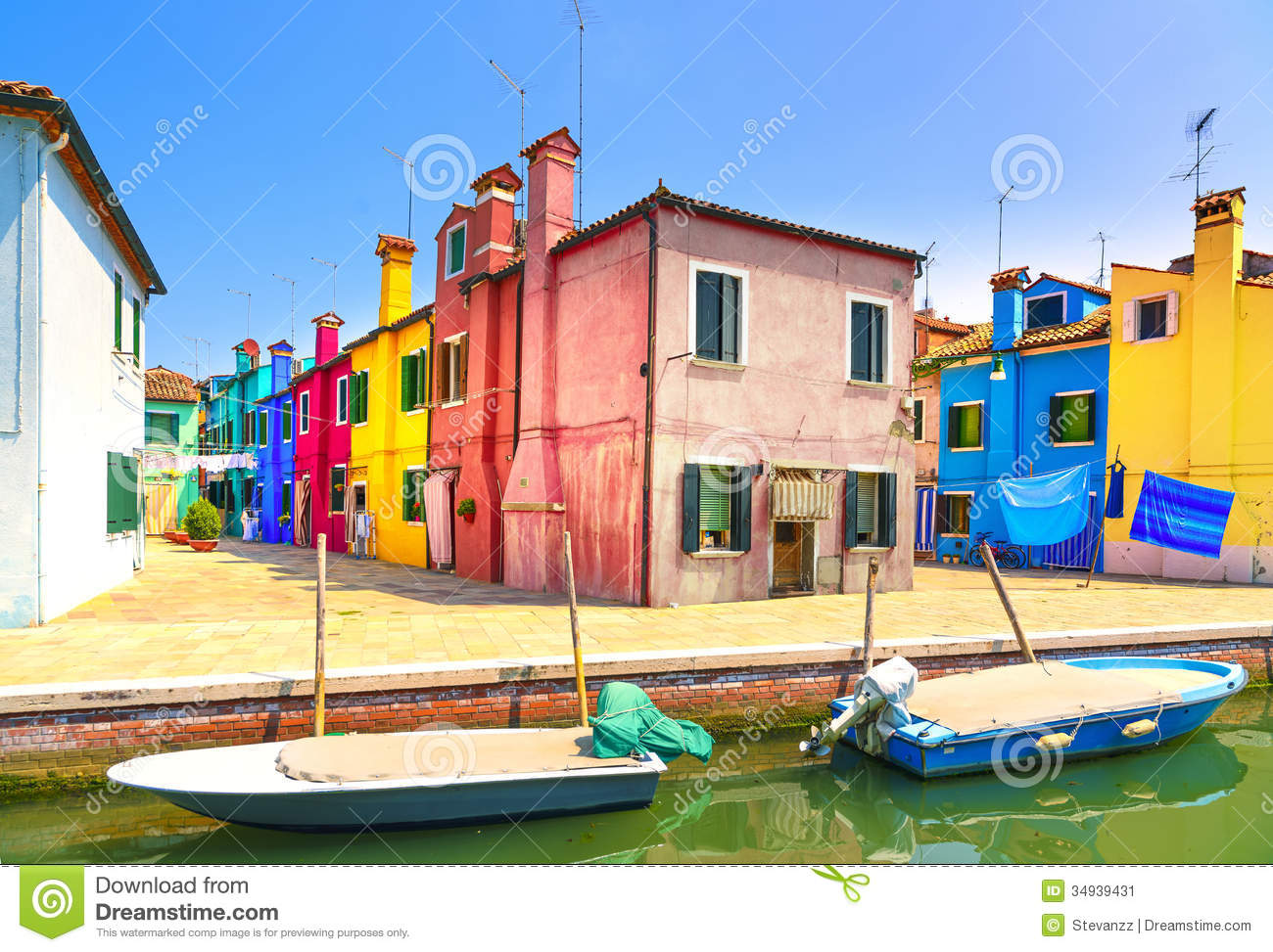 Venice Landmark Burano Island Canal Colorful Houses And