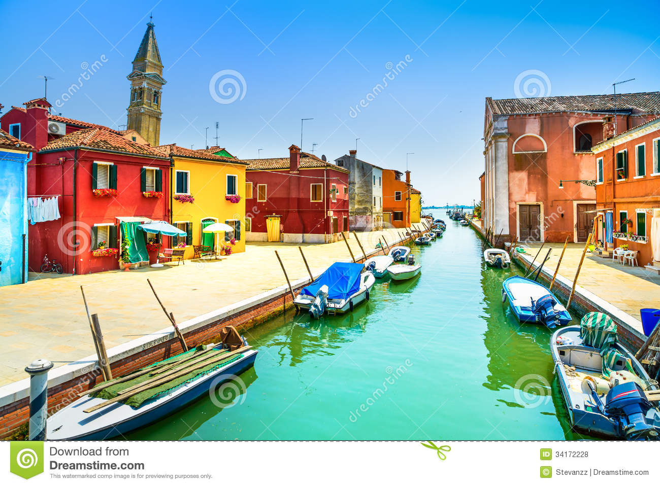 Venice Landmark, Burano Island Canal, Colorful Houses, Church And Boats, Italy Royalty Free ...