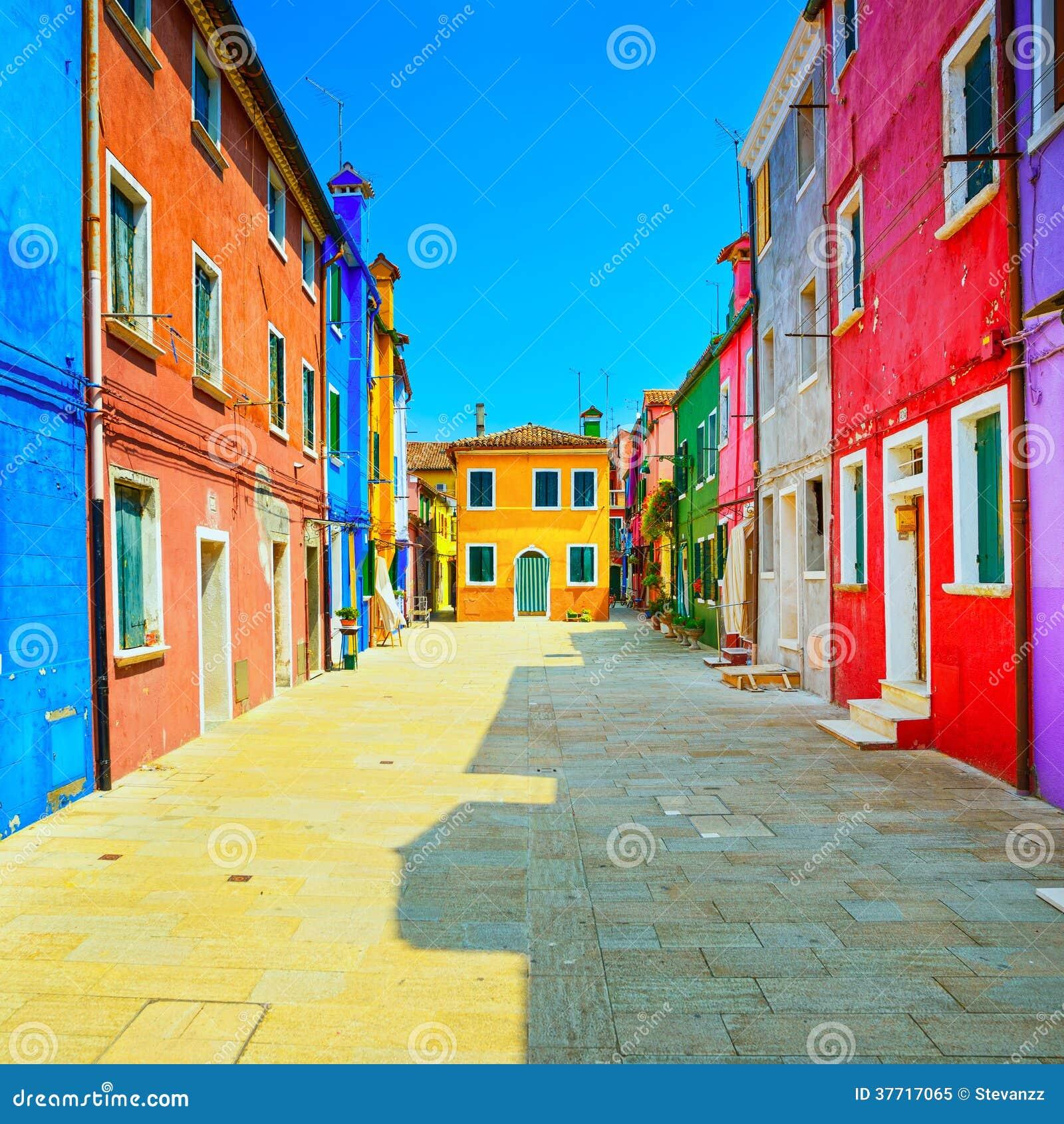 Venice Landmark, Burano Island Street, Colorful Houses ...