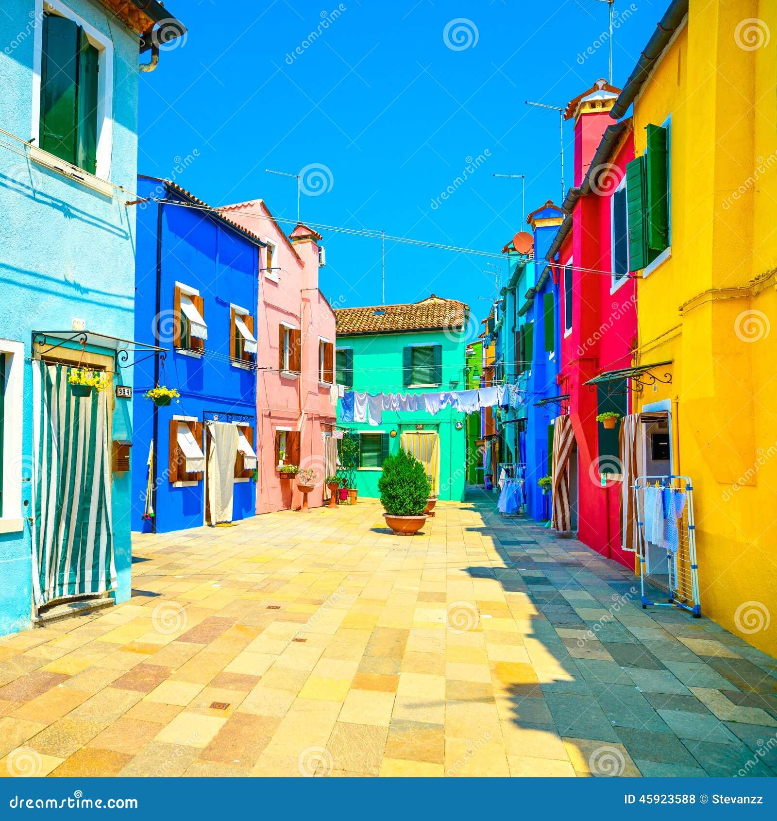 Venice Landmark, Burano Island Street, Colorful Houses, Italy Stock Photo - Image: 45923588