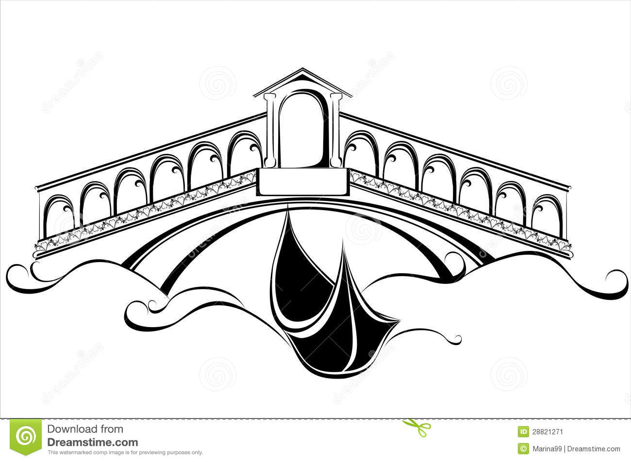 Line Drawing Venice : Venice landscape with gondola boat and bridge stock vector