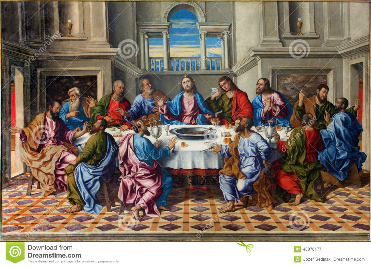 Venice - The Last supper of Christ Ultima cena by Girolamo da Santacroce (1490 - 1556)