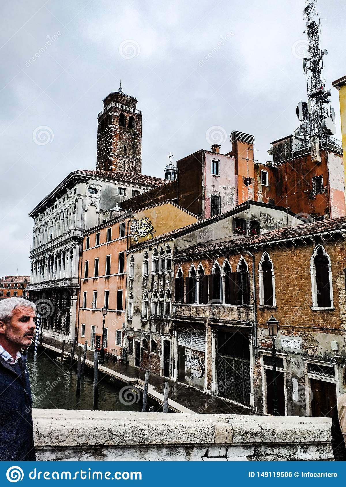 Venice. photos taken during a rainy day near the train station. images colored by the color of the wet walls that accentuate the