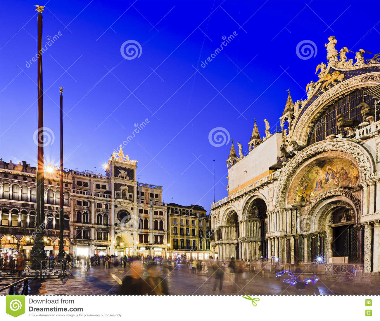 San Marco Srl.Venice San Marco Cathedral Blue Set Stock Image Image Of