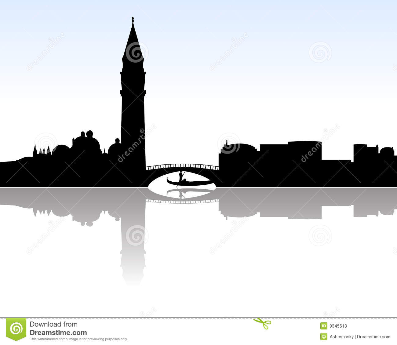 Vectored illustration of venice skyline with most famous landmarks as ...