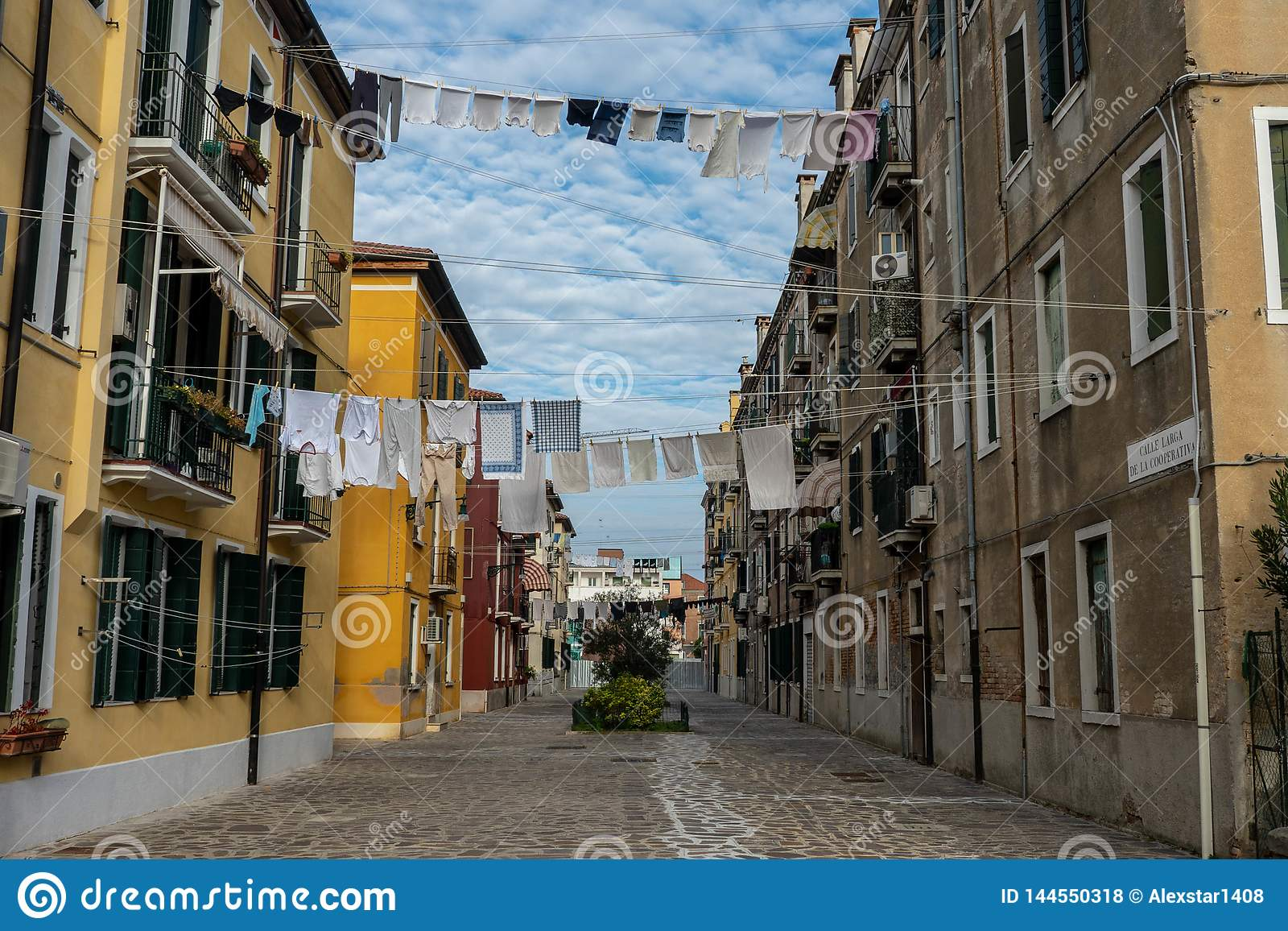 Venice streets with cloths hanging out on lines