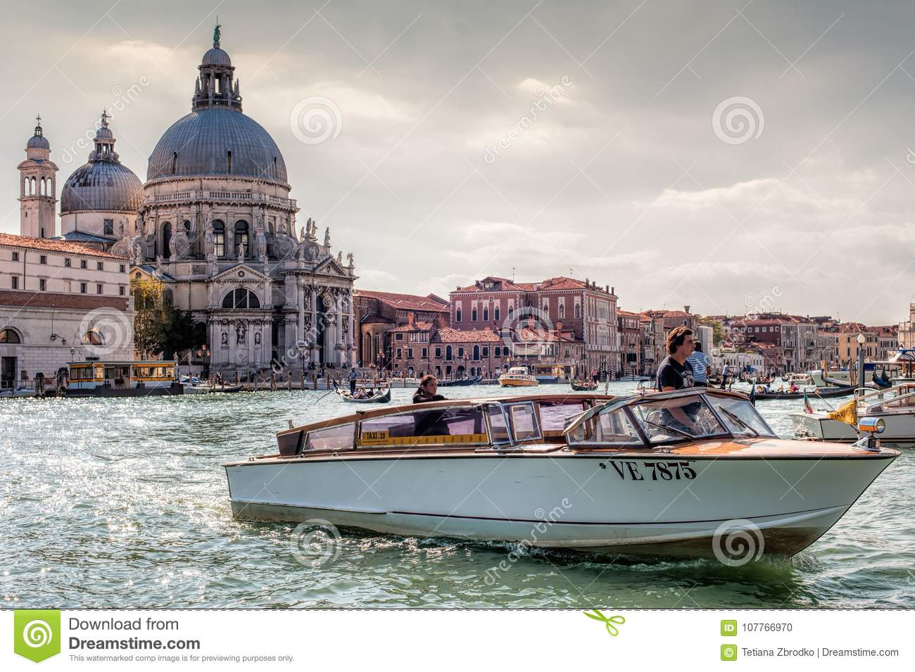 venice water taxi editorial image image of italian 107766970