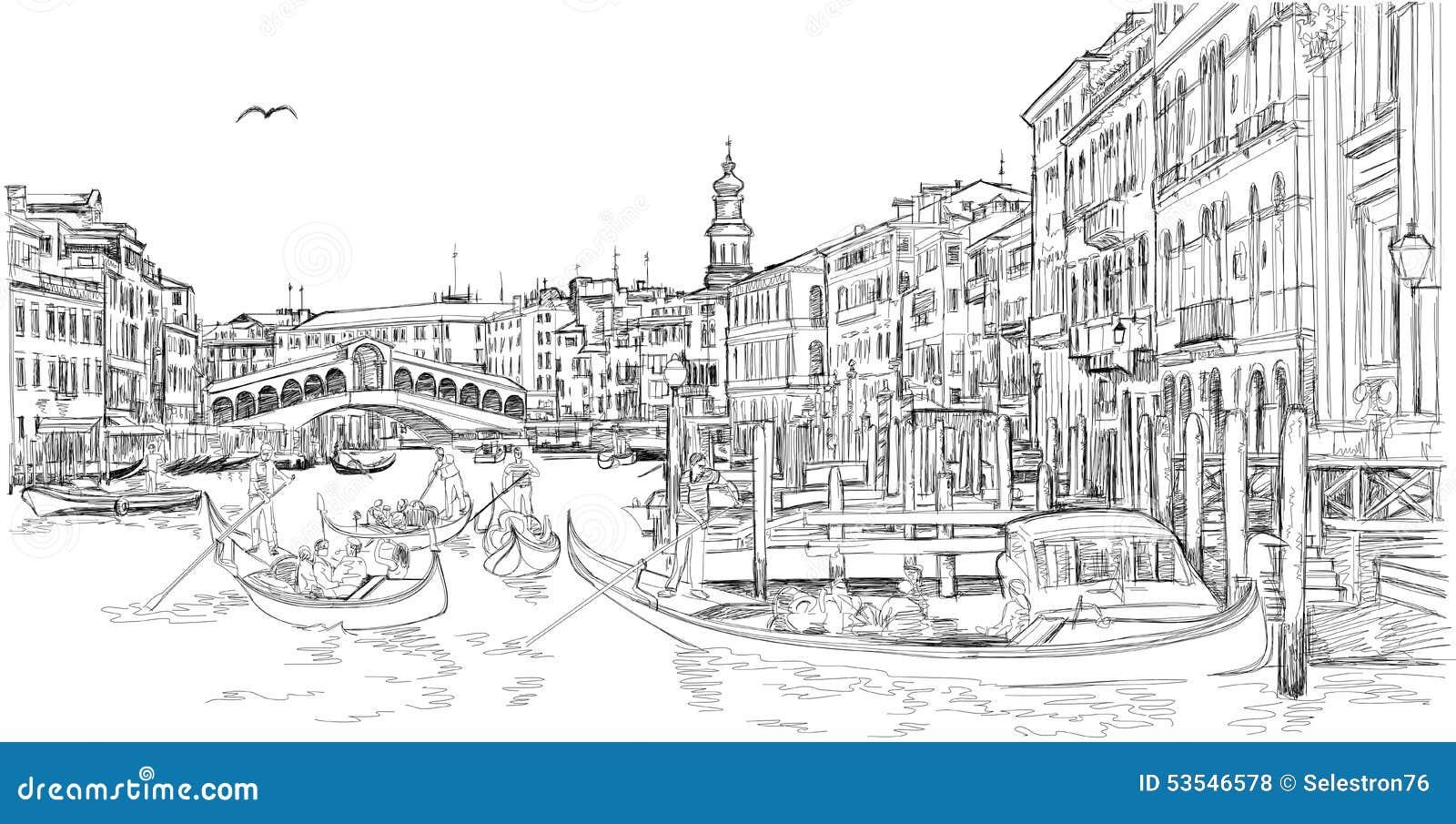 Venise - canal grand Vue de la passerelle de Rialto