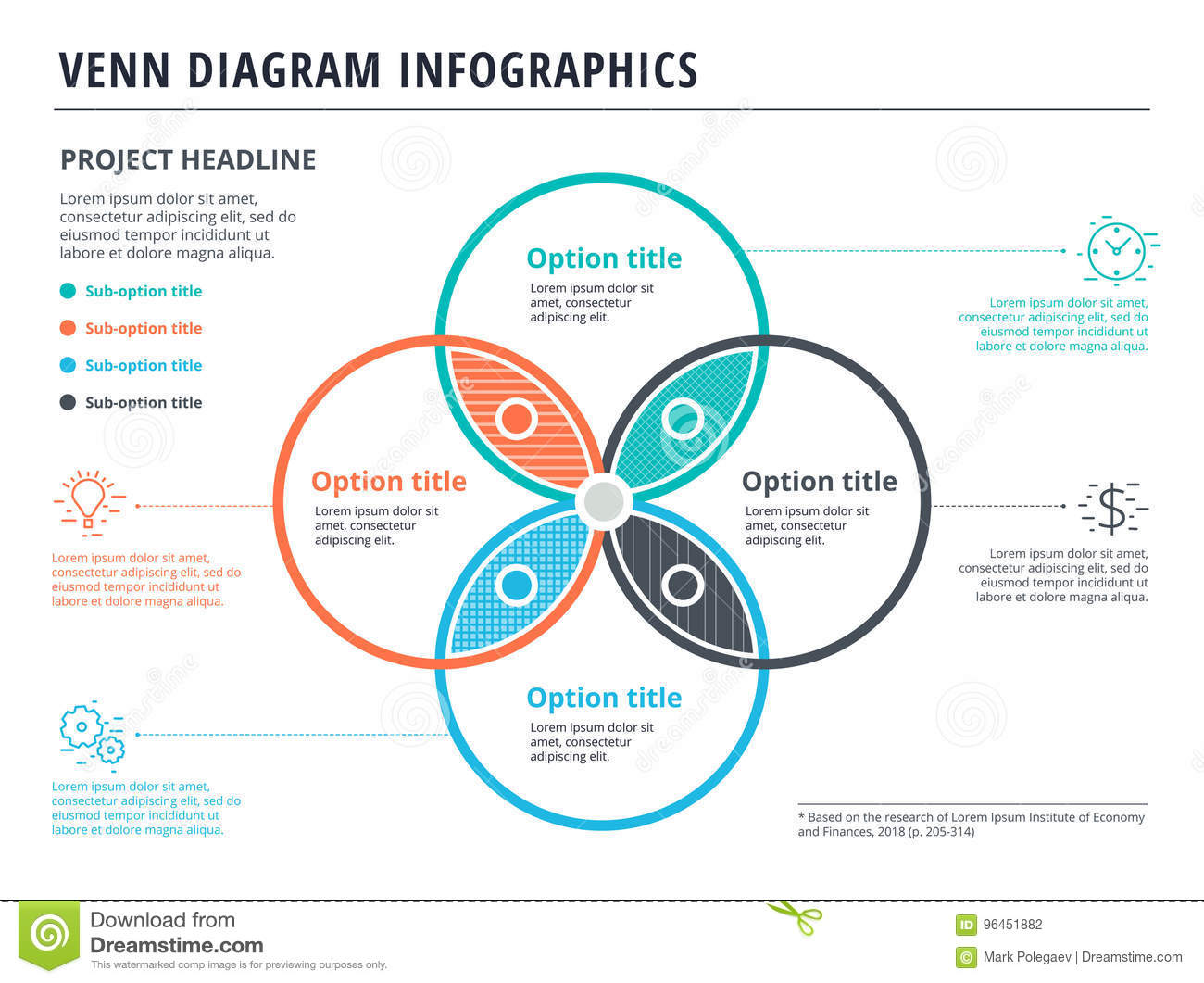 venn diagram with 4 circles infographics template design