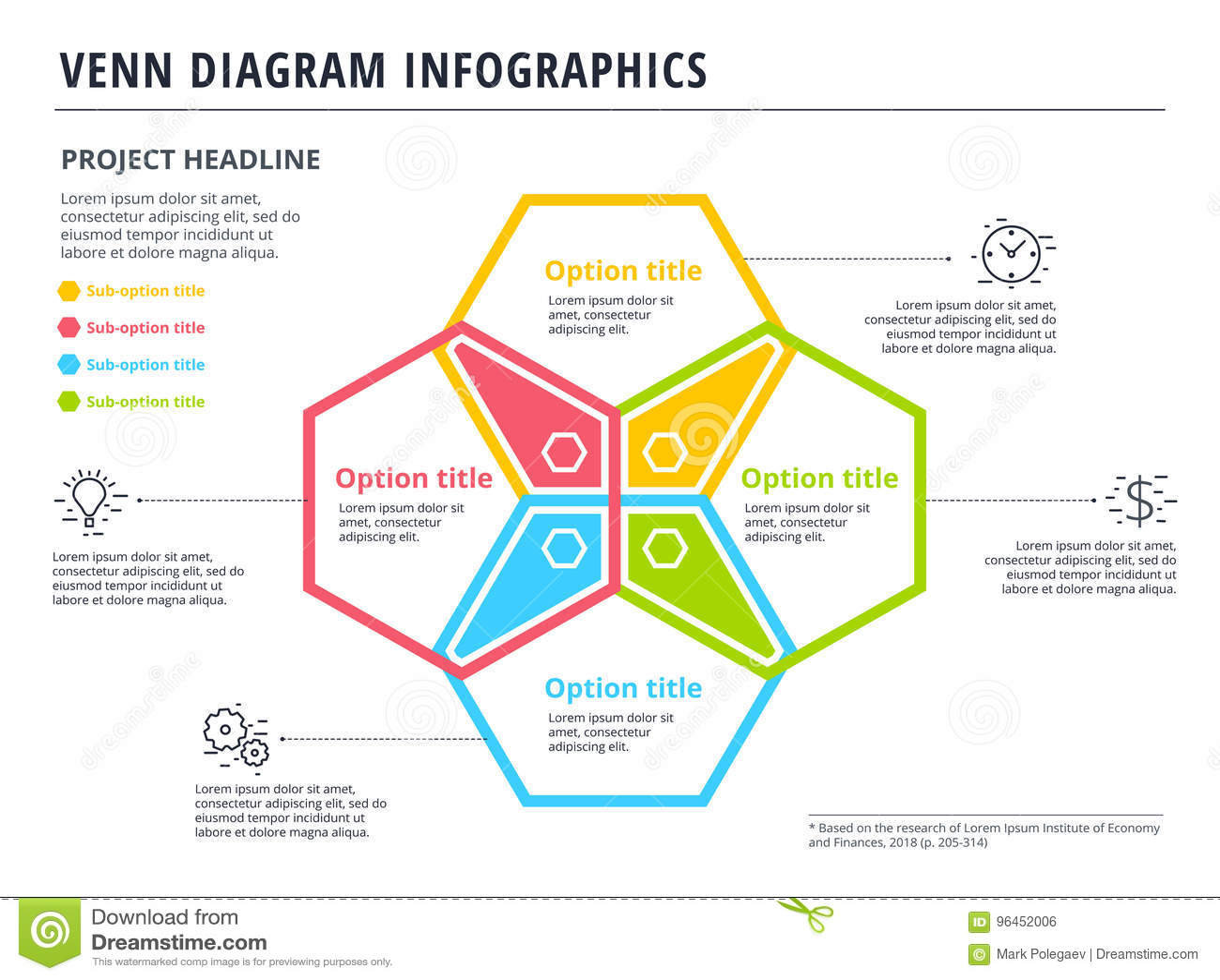 Venn Diagram With 4 Circles Infographics Template Design