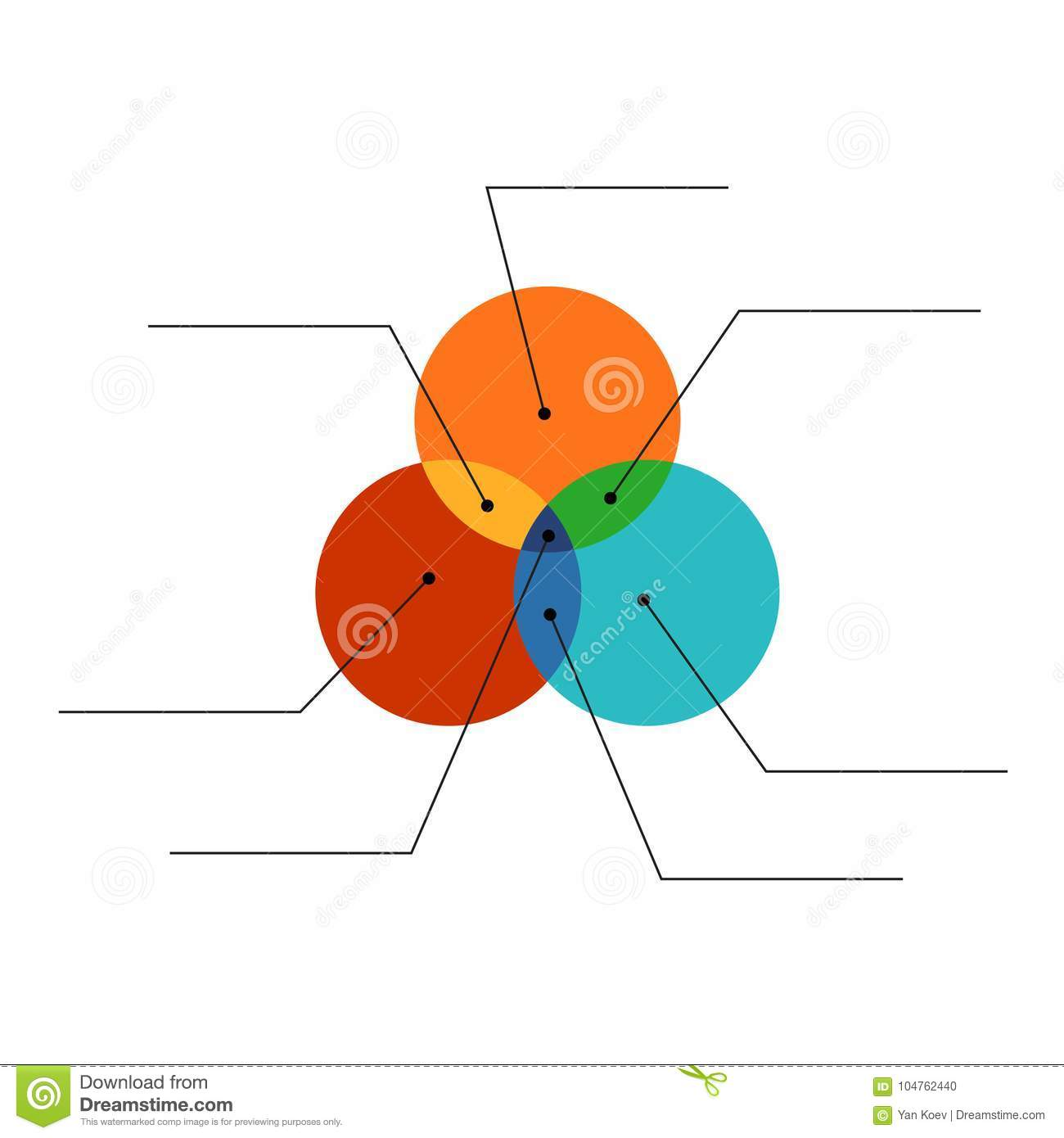 venn diagram flat style color infographics template with lines