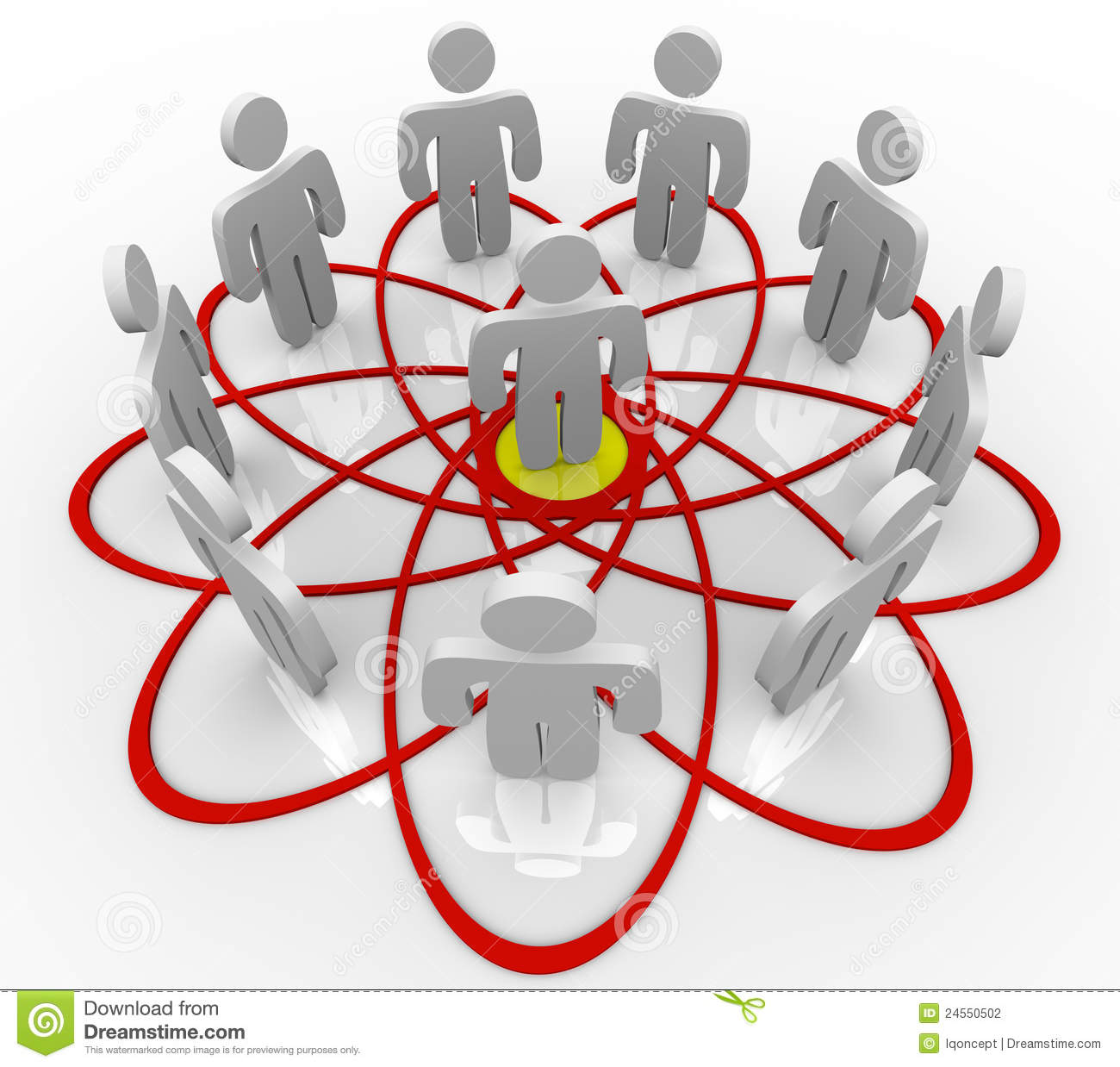 venn diagram many people one person in center