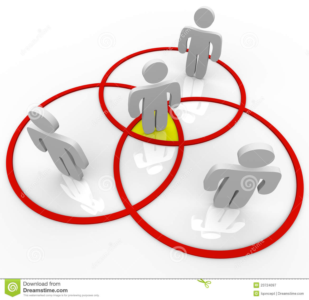 Venn Diagram People In Overlapping Circles Royalty Free