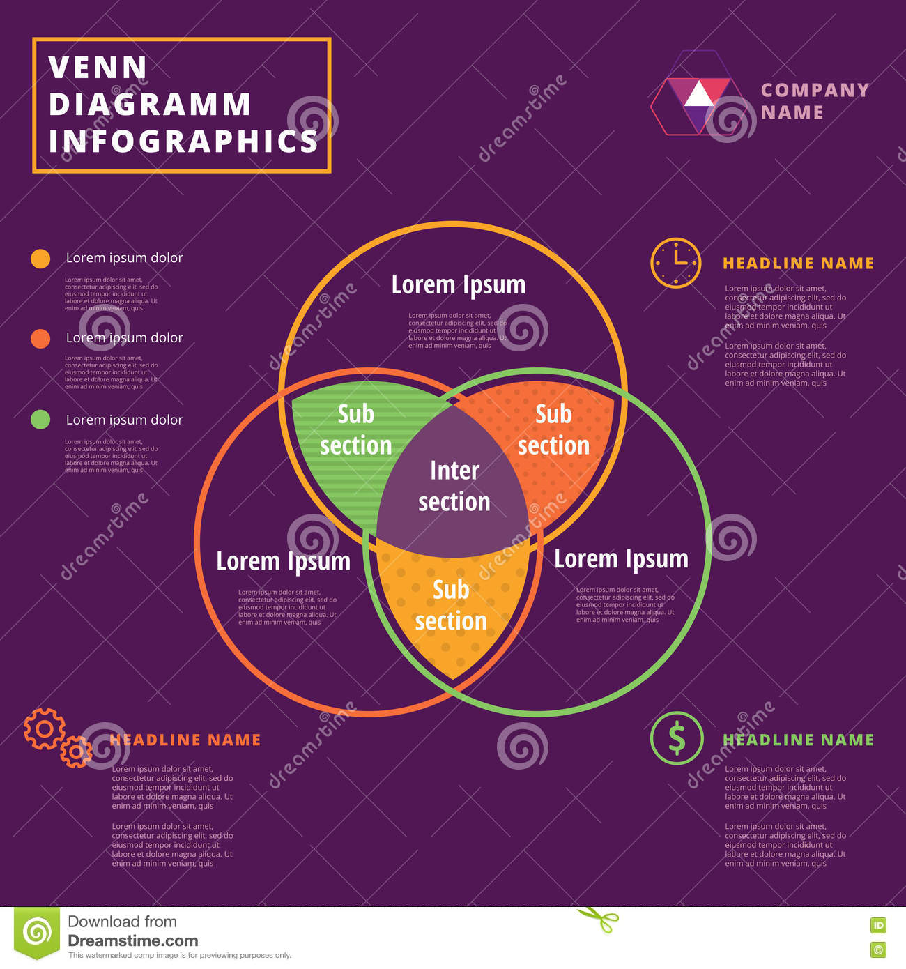 Logic Venn Diagram Generator Wiring Library Calculator Vector Circles Infographics Template Design