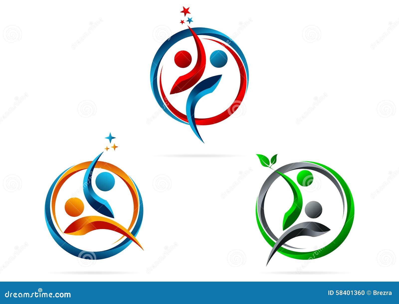 Vennootschap, embleem, ster, succes, mensen, gezond symbool, team, onderwijs, vector, pictogram, ontwerp