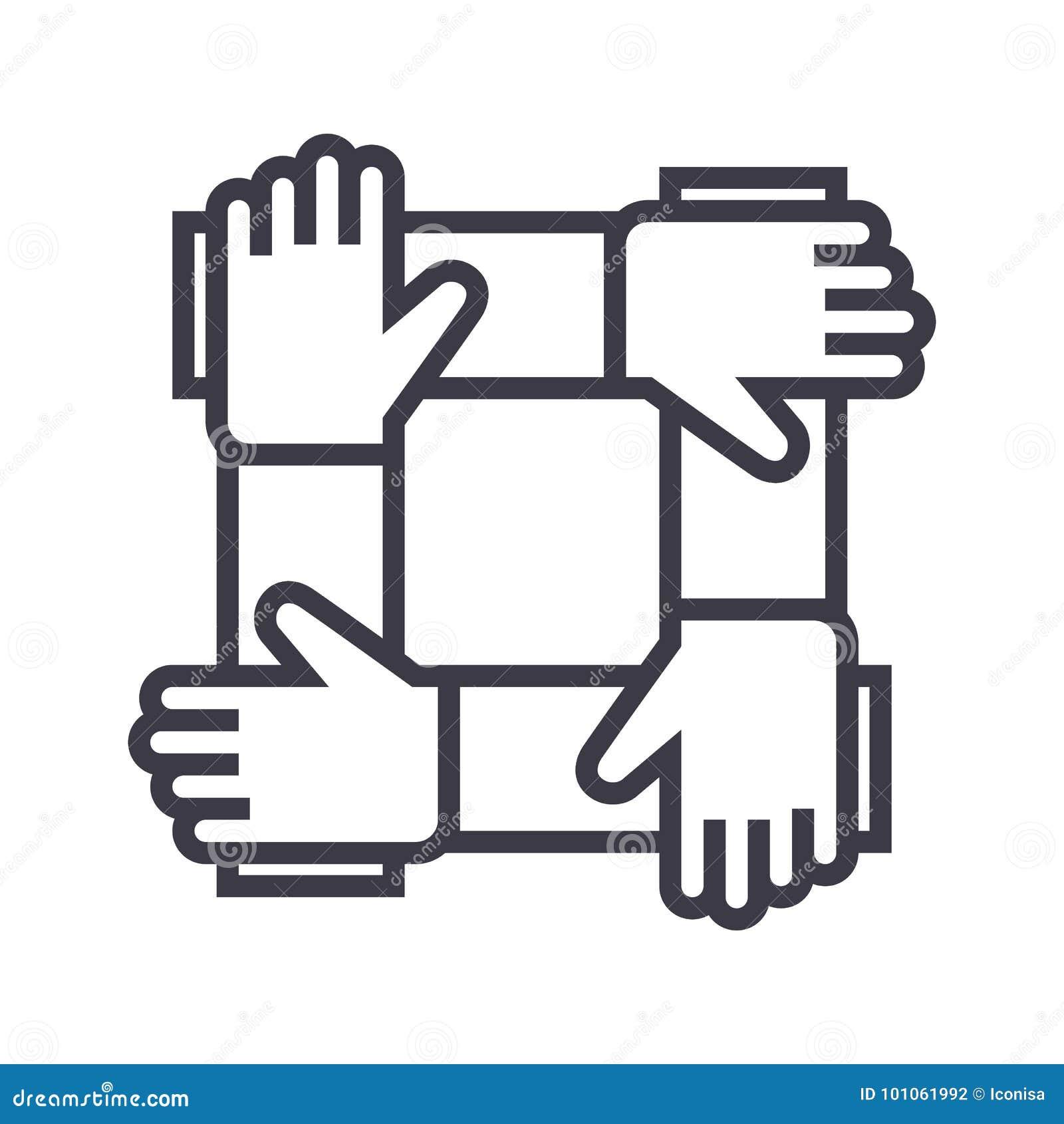 Vennootschap, samenwerking, pictogram van de hulp het vectorlijn, teken, illustratie op achtergrond, editable slagen