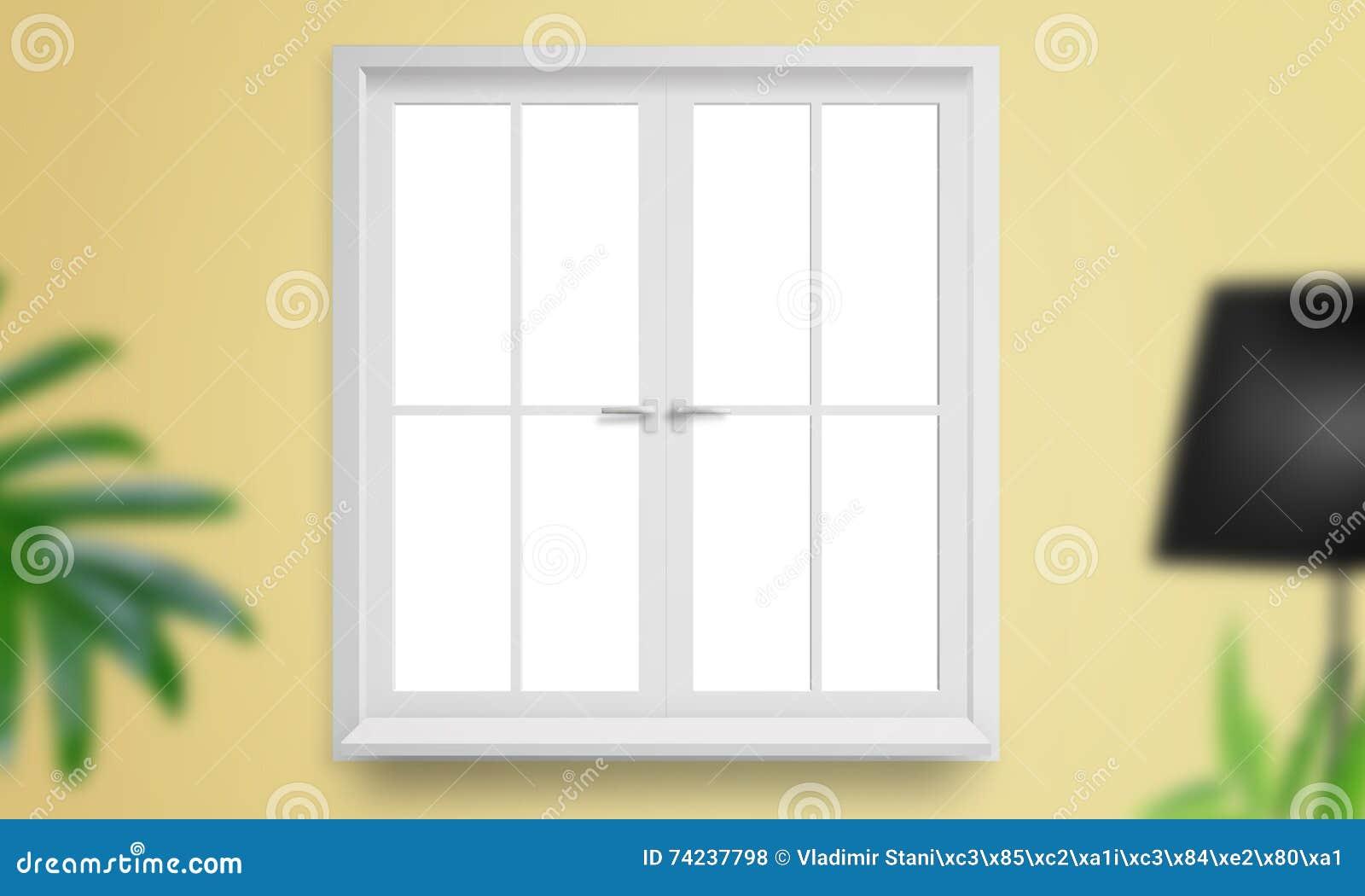 Venster op gele muur wordt geïsoleerd die staande lamp en