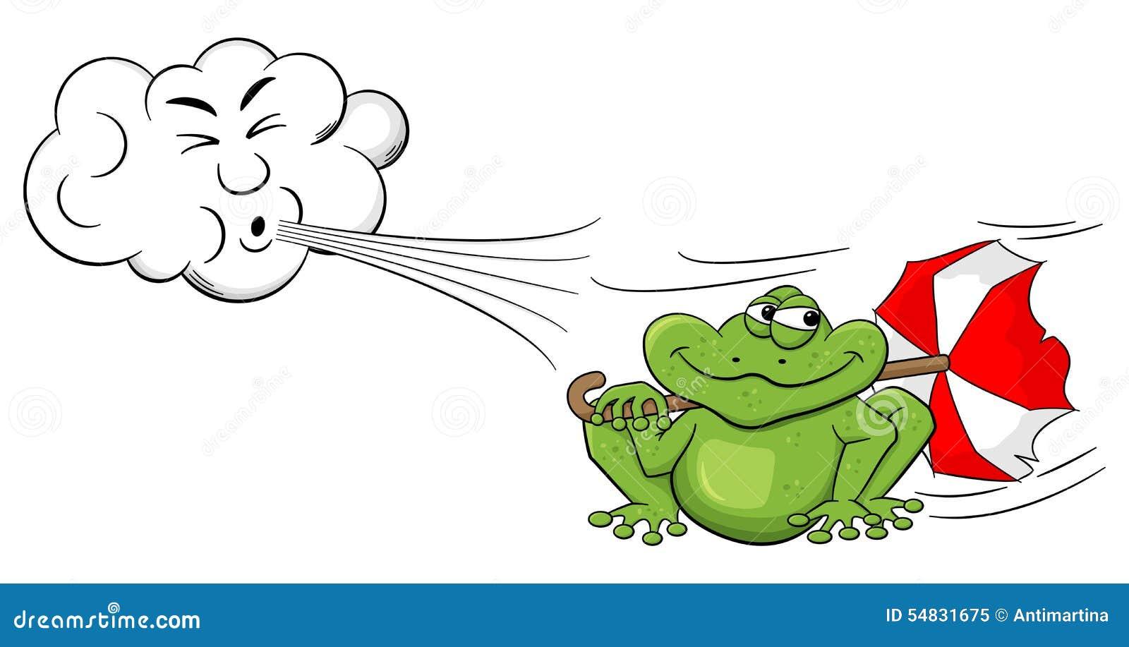 Vent de soufflement de nuage de bande dessinée sur une grenouille avec le parapluie