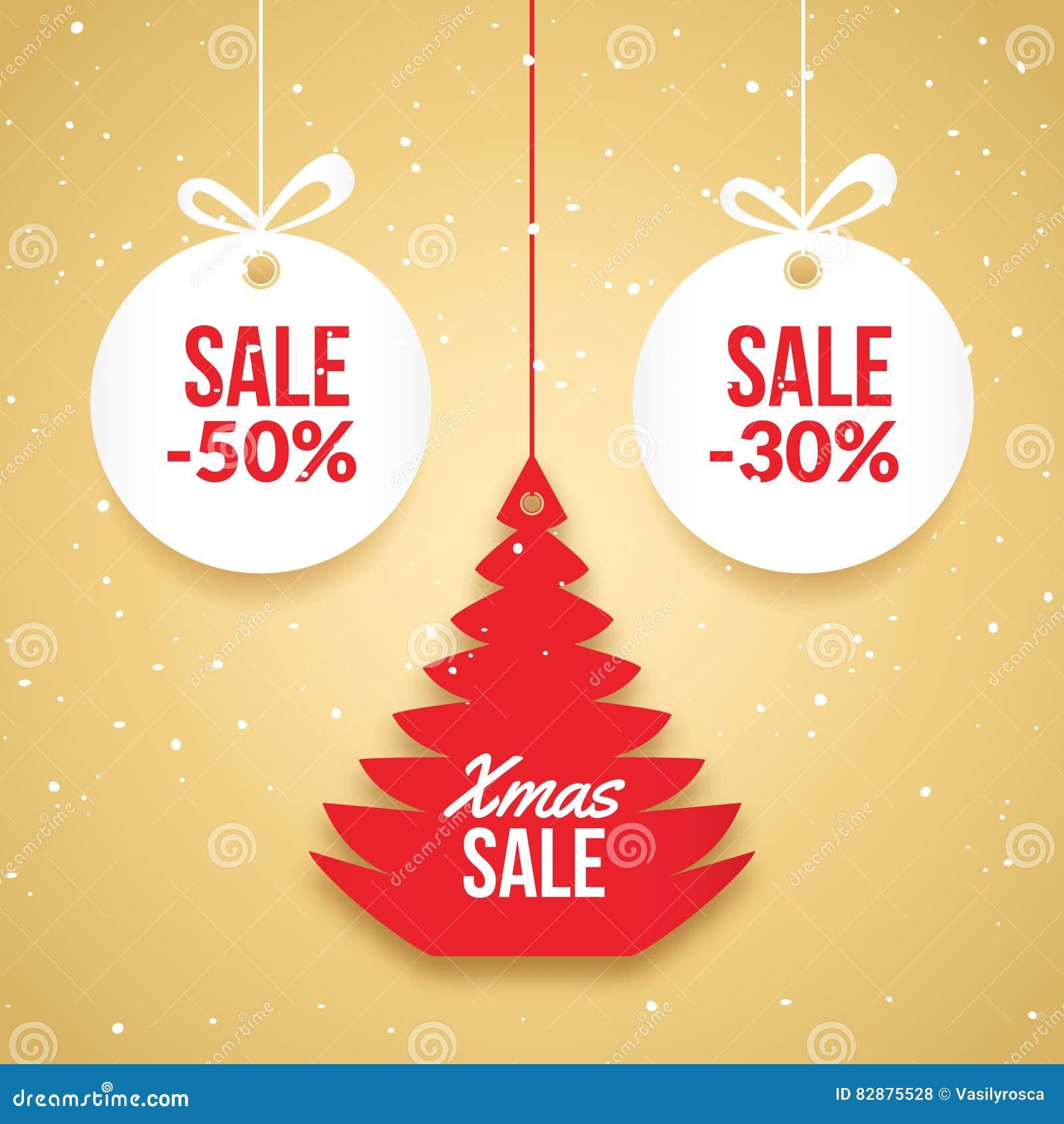 Venta de las bolas de la Navidad Etiqueta del vector de la oferta especial Plantilla de la tarjeta del día de fiesta del Año Nuev