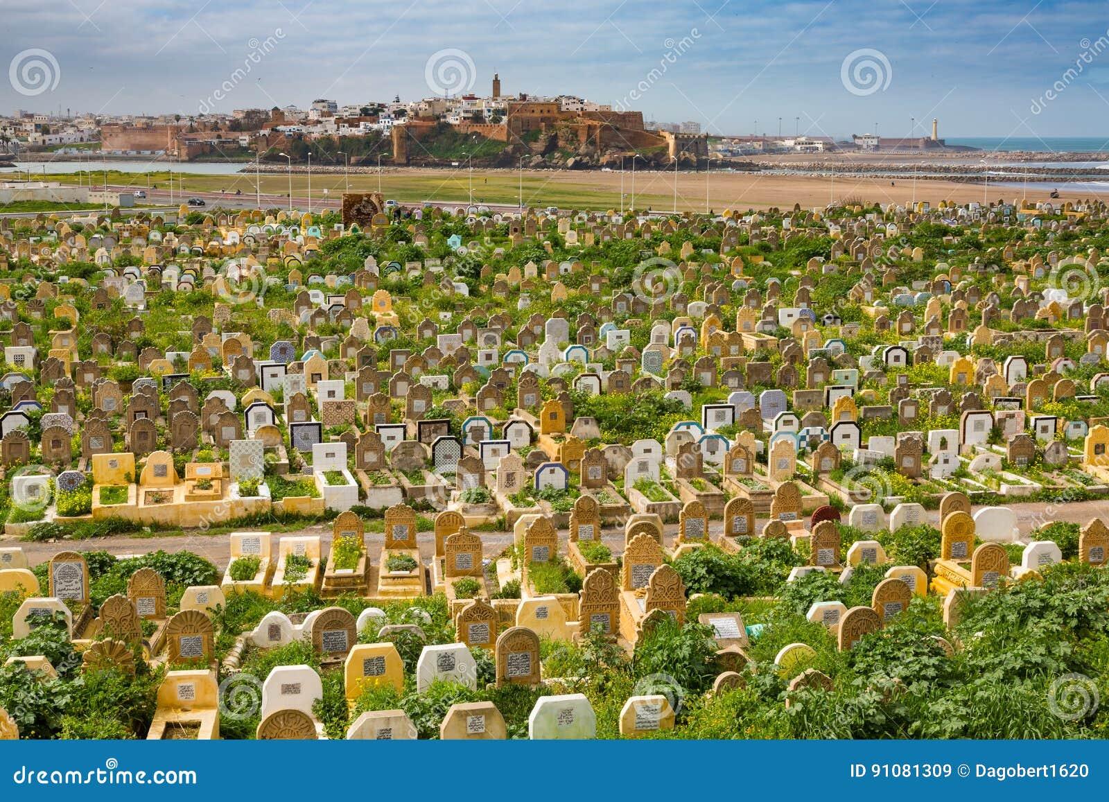 Venta, Marruecos - 6 de marzo de 2017: Cementerio árabe en venta, Marruecos