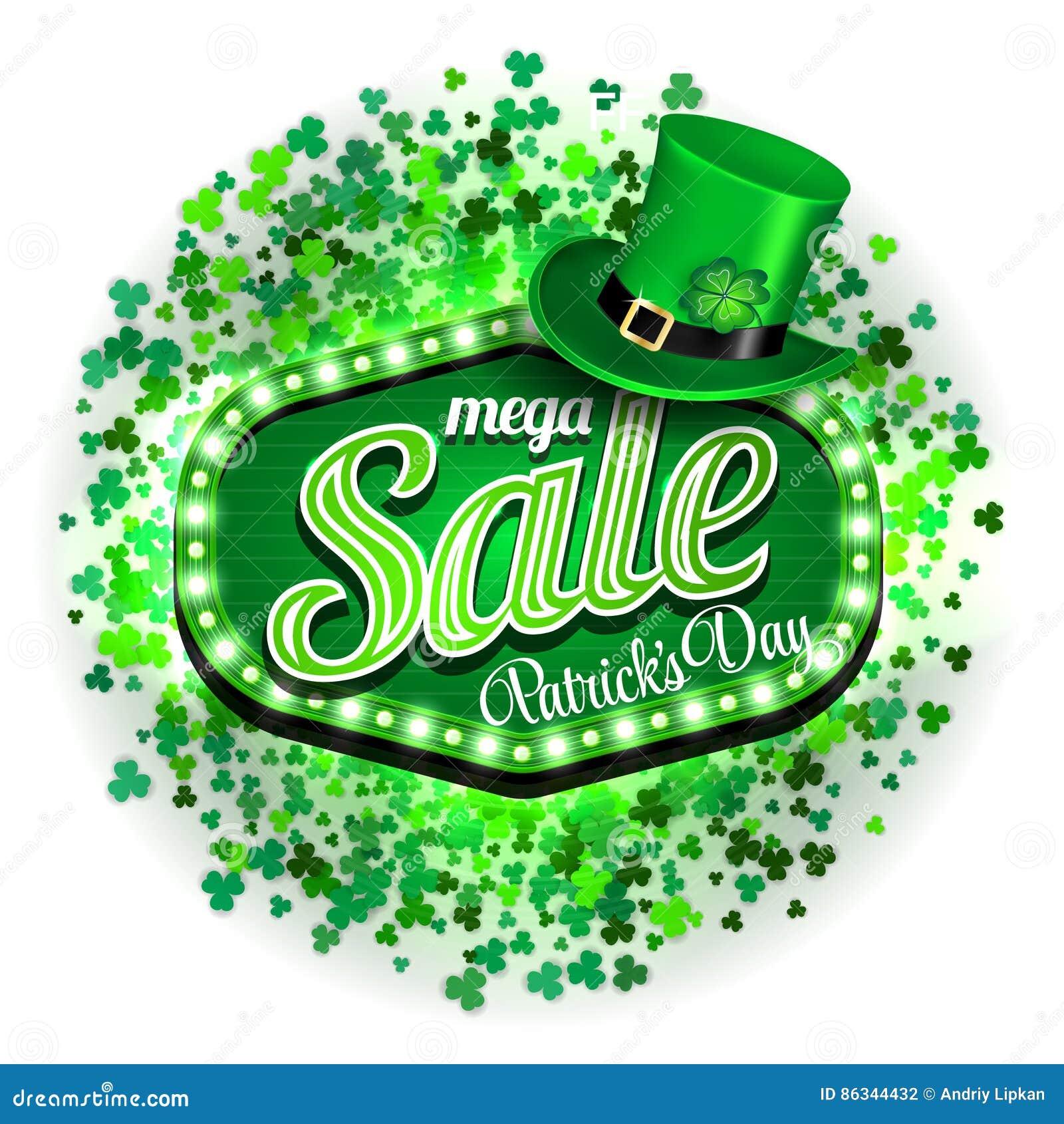 Venta mega del día del ` s de St Patrick del fondo Modelo de la bandera o  del cartel o del aviador Marco de la luz verde con el sombrero y el trébol  ... 3525c9042003