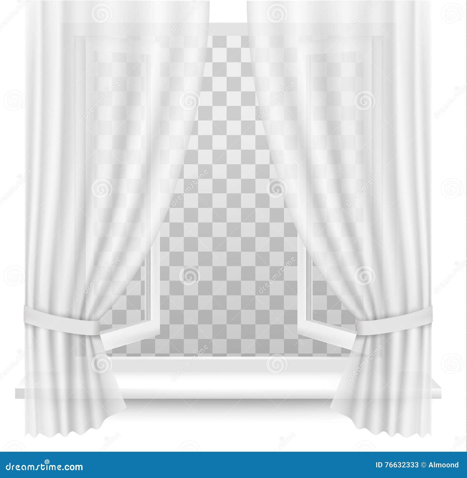 Ventana abierta con las cortinas en un fondo transparente for Tende frama