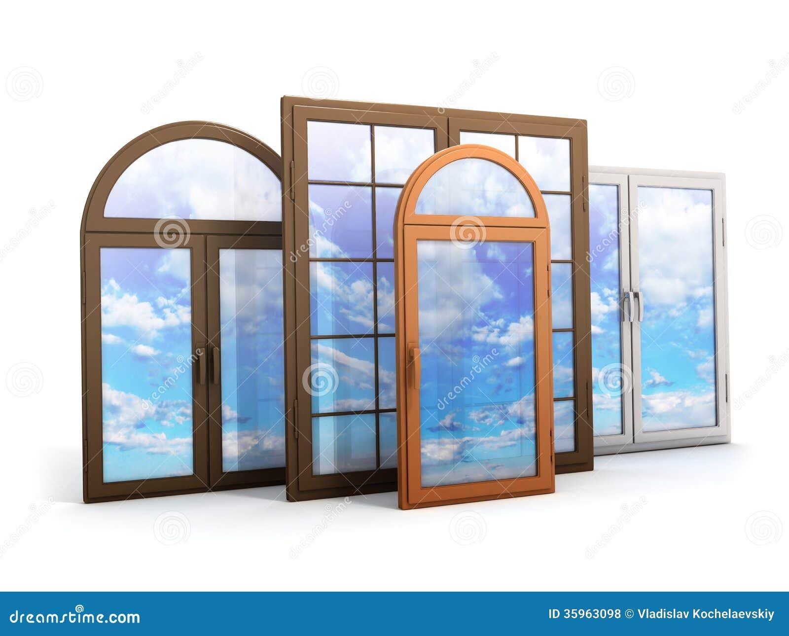 Ventana con las reflexiones del cielo