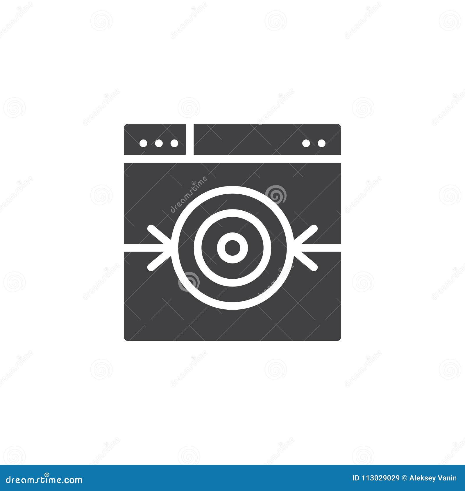 Ventana de navegador con el icono del vector de la blanco