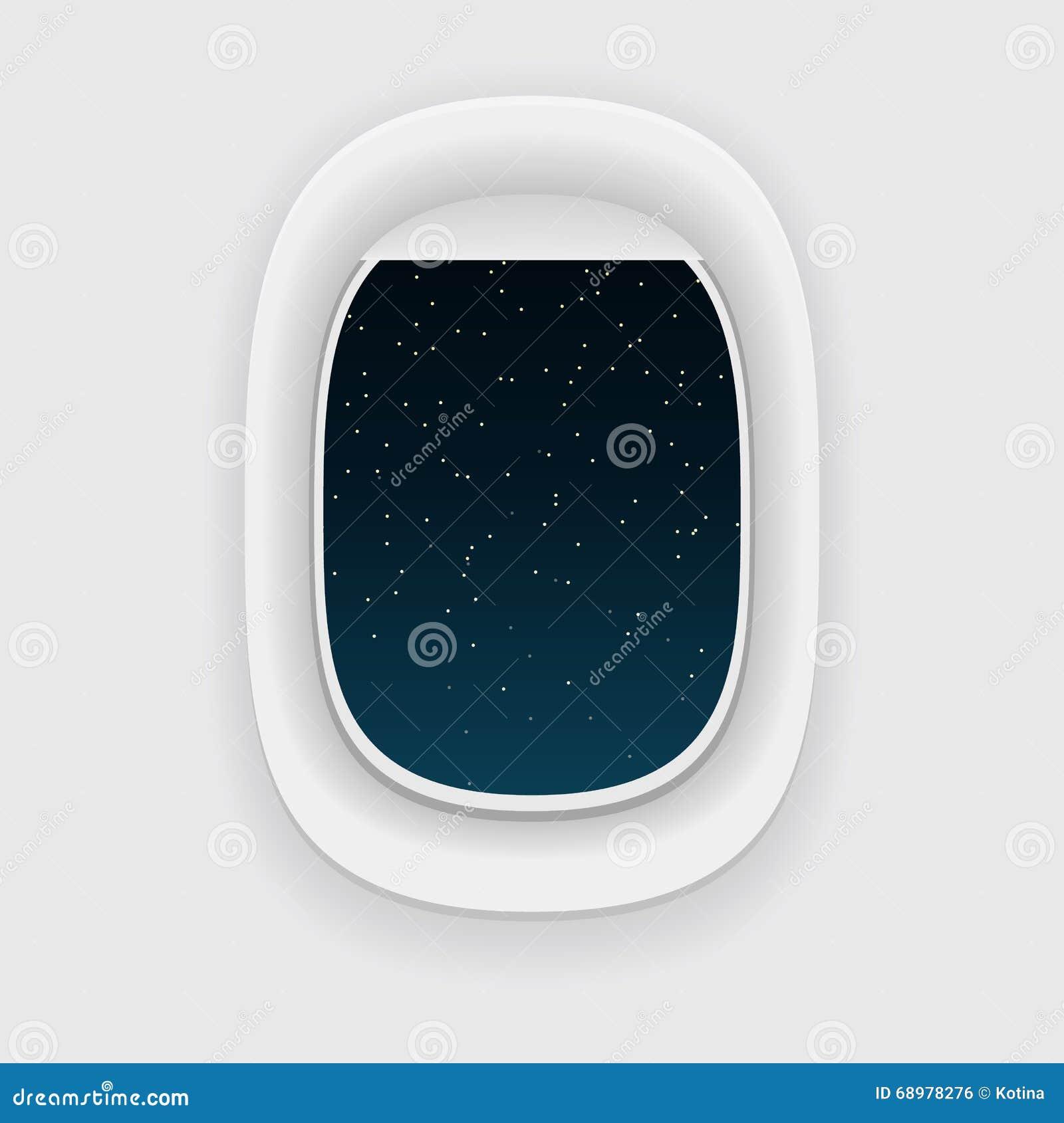 Ventana del aeroplano, o una porta, en la noche Opinión del cielo de la estrella