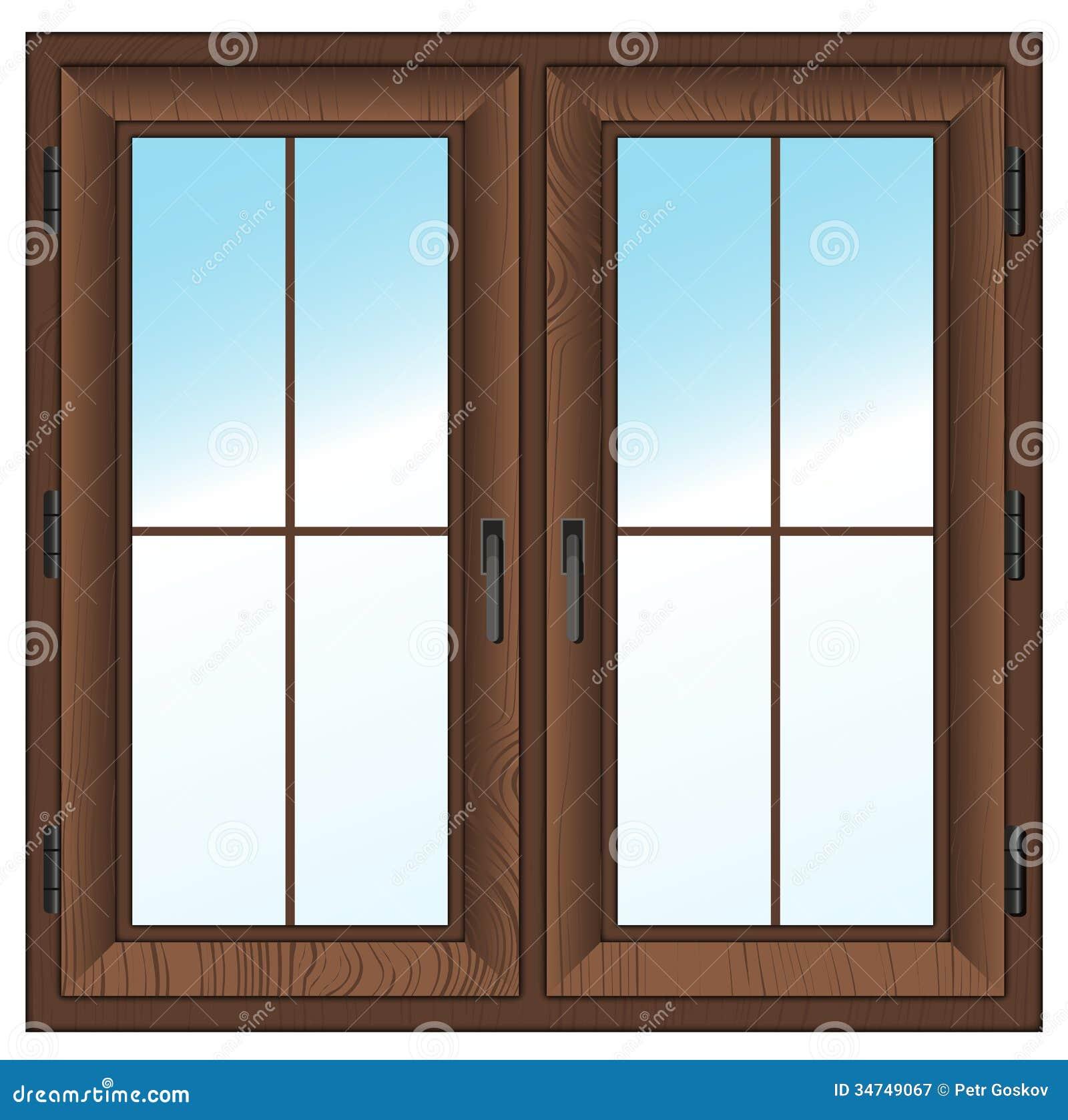 Ventana cerrada texturizada de madera aislada en blanco. Ejemplo del ...