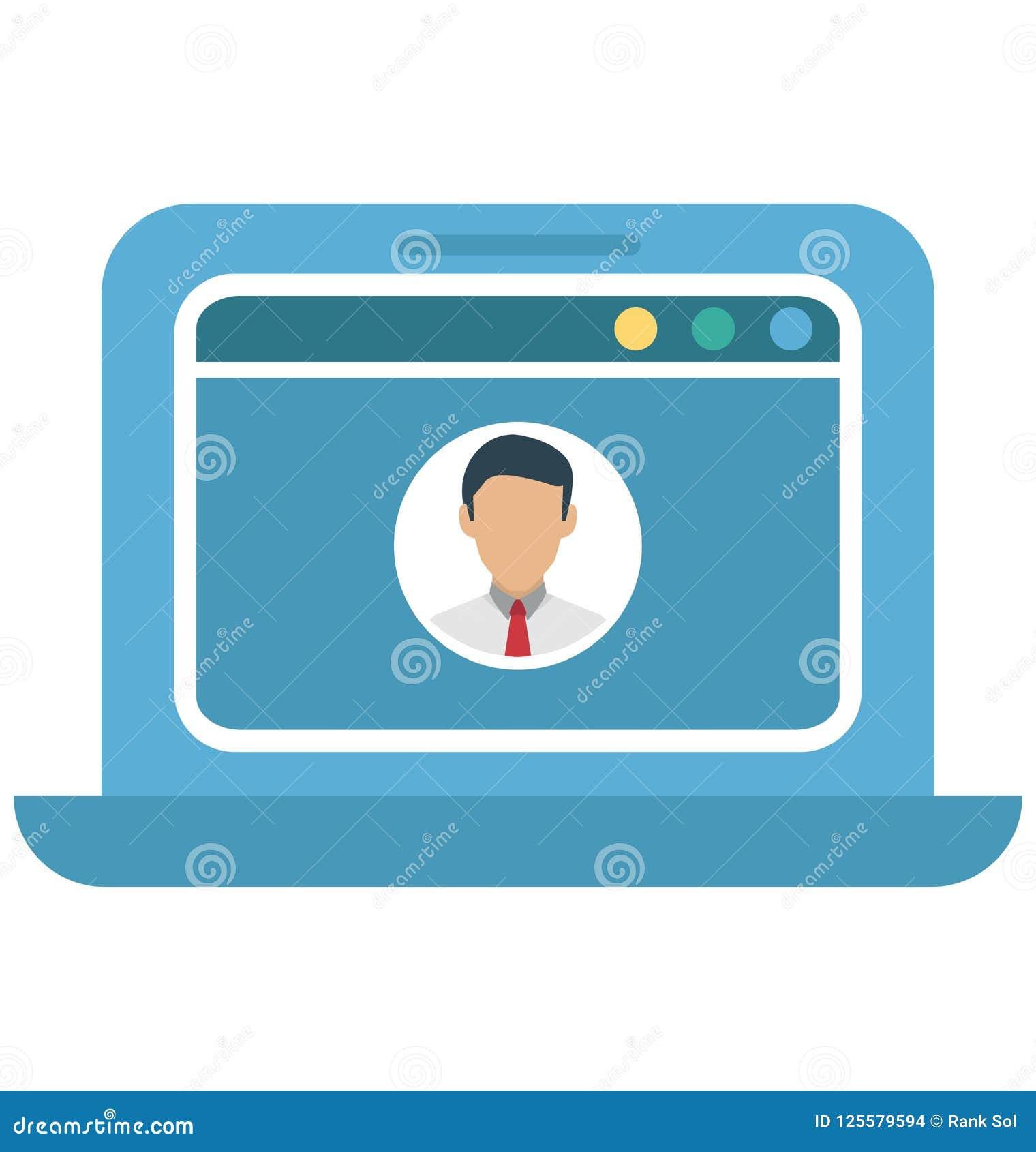 Ventana emergente del perfil, icono aislado perfil del vector del web