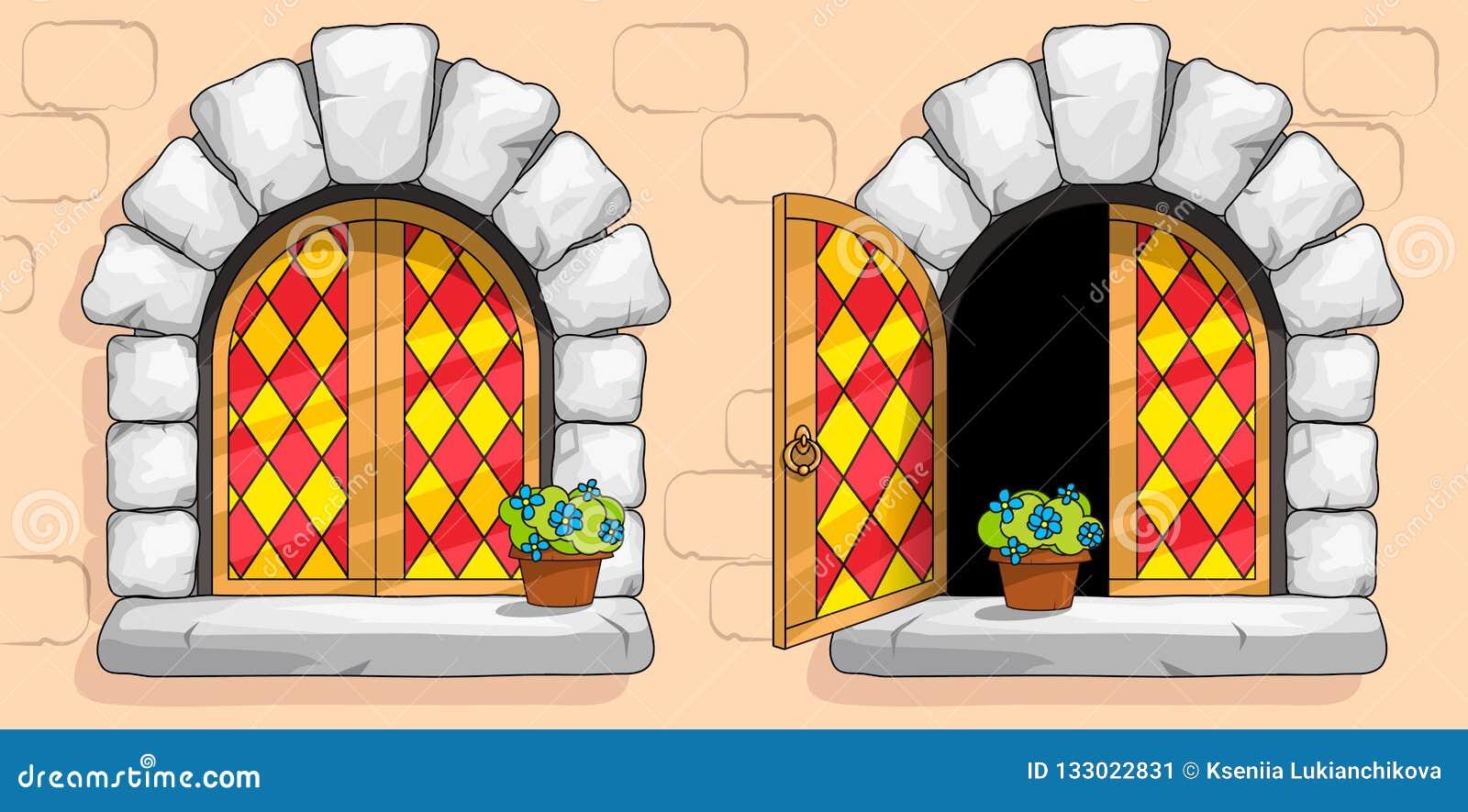 Ventana medieval, vitrales rojos, piedras blancas