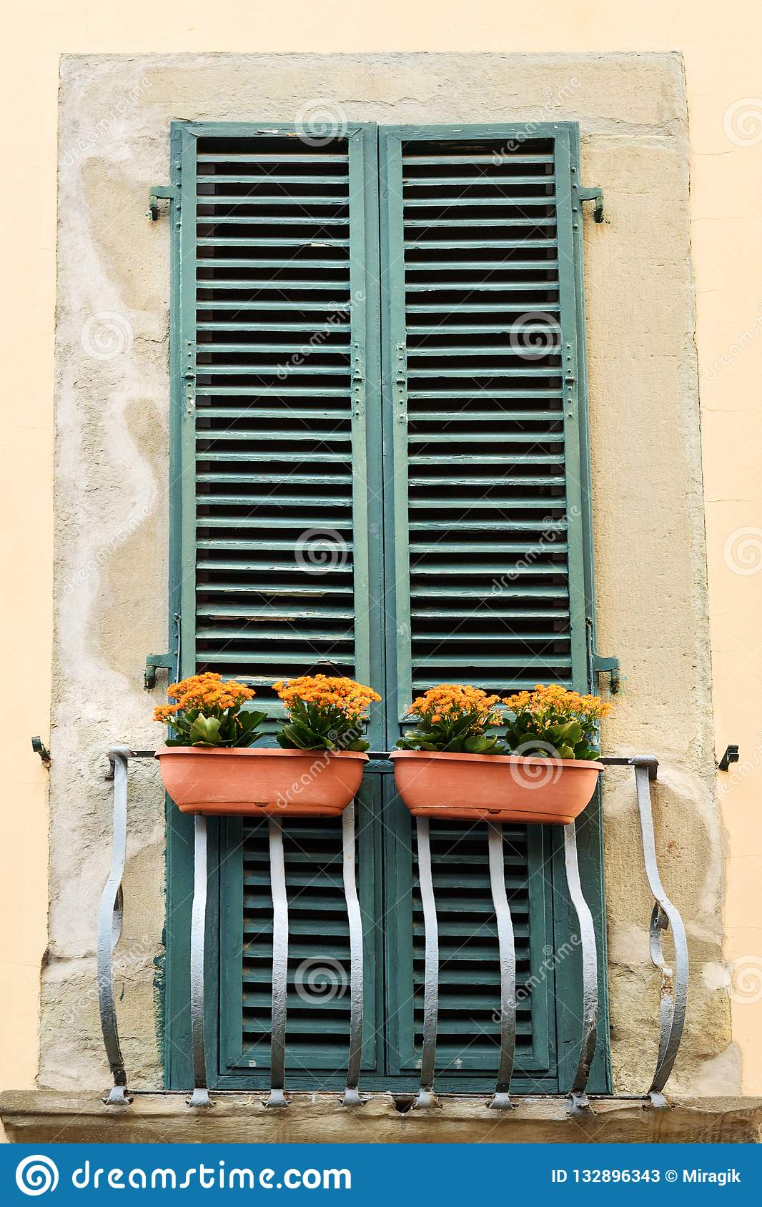 Ventana tradicional italiana vieja con las flores pisa Italia