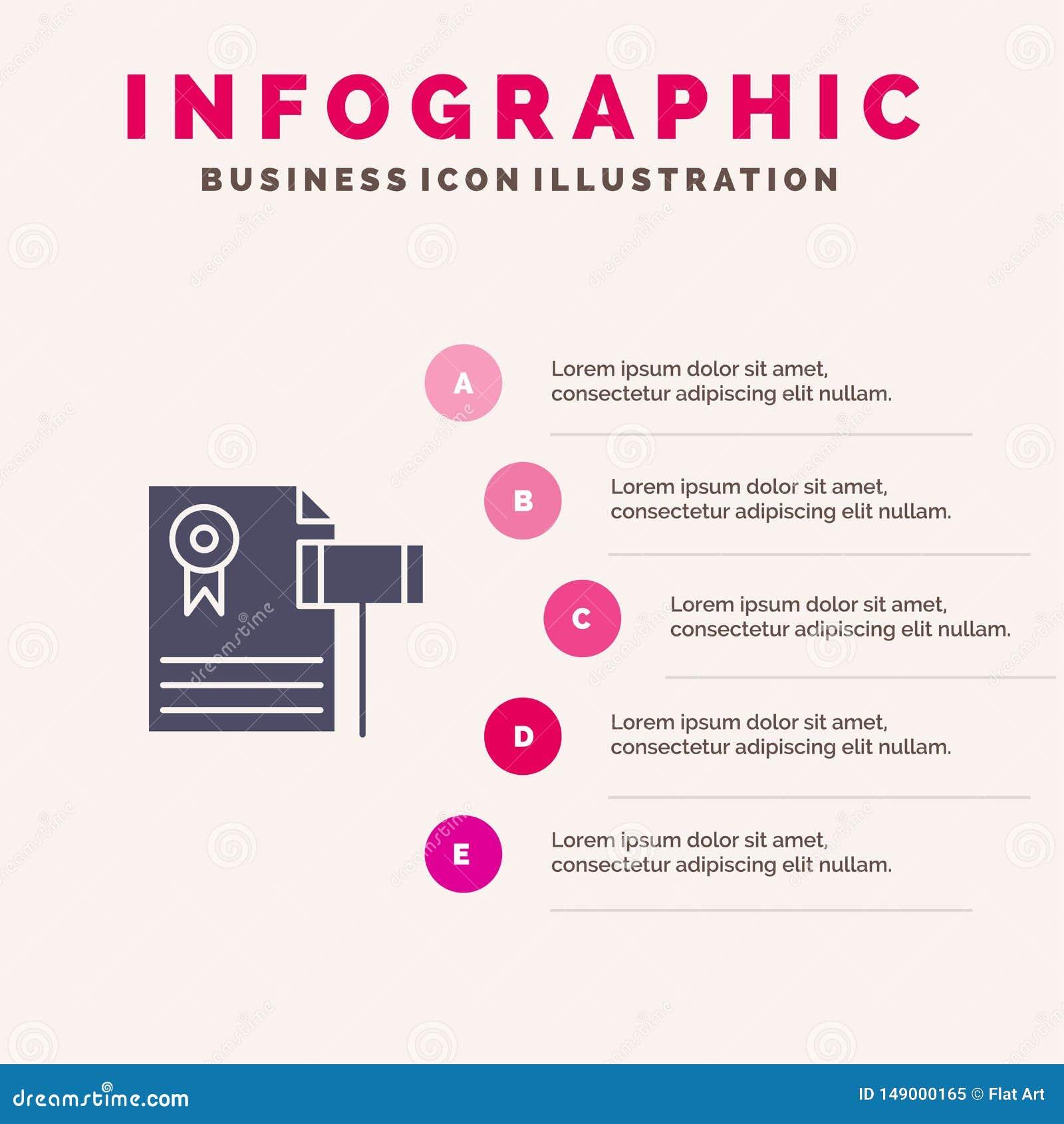 Vente aux enchères, cru, cher, gravier, fond de présentation d étapes de Solid Icon Infographics 5 de juge