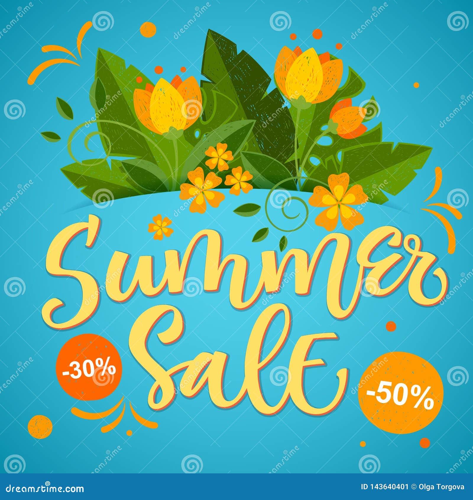 Vente d été - conception colorée lumineuse de calligraphie avec les éléments floraux