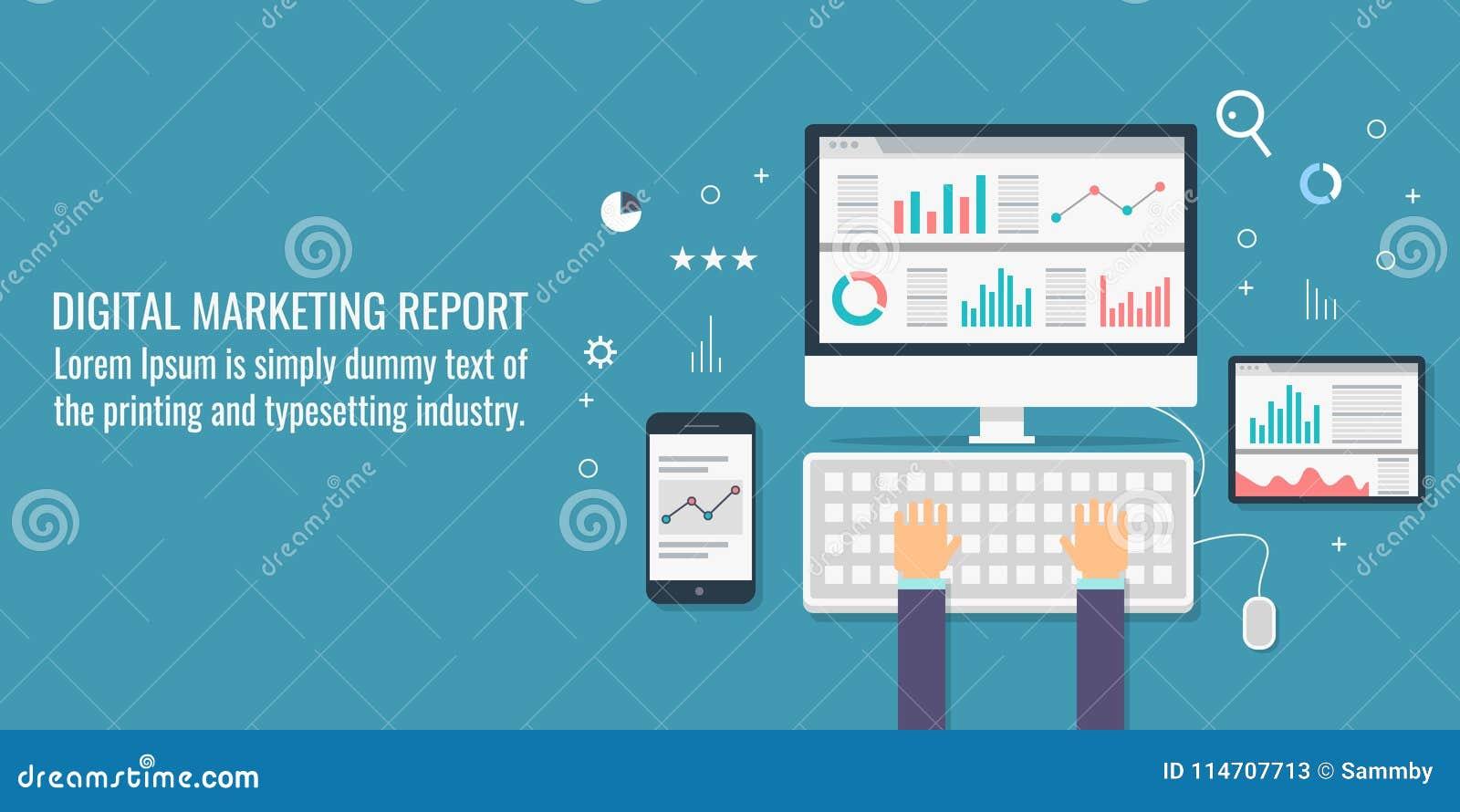 Vente de Digital, analytics de données, information, recherche de marché, audit, planification des affaires et concept de dévelop